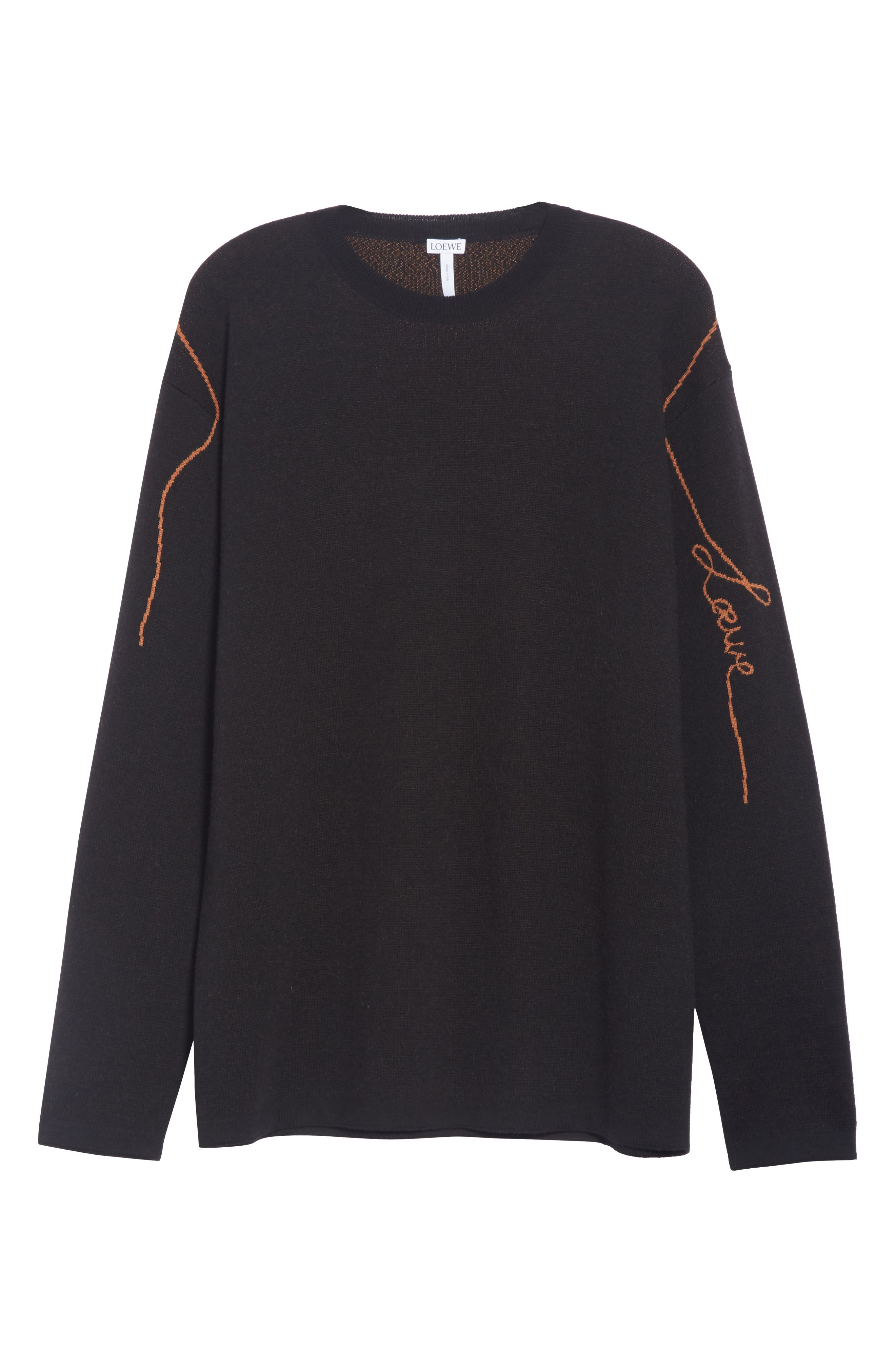 Logo Jacquard Wool Sweater,                             Alternate thumbnail 6, color,                             BLACK