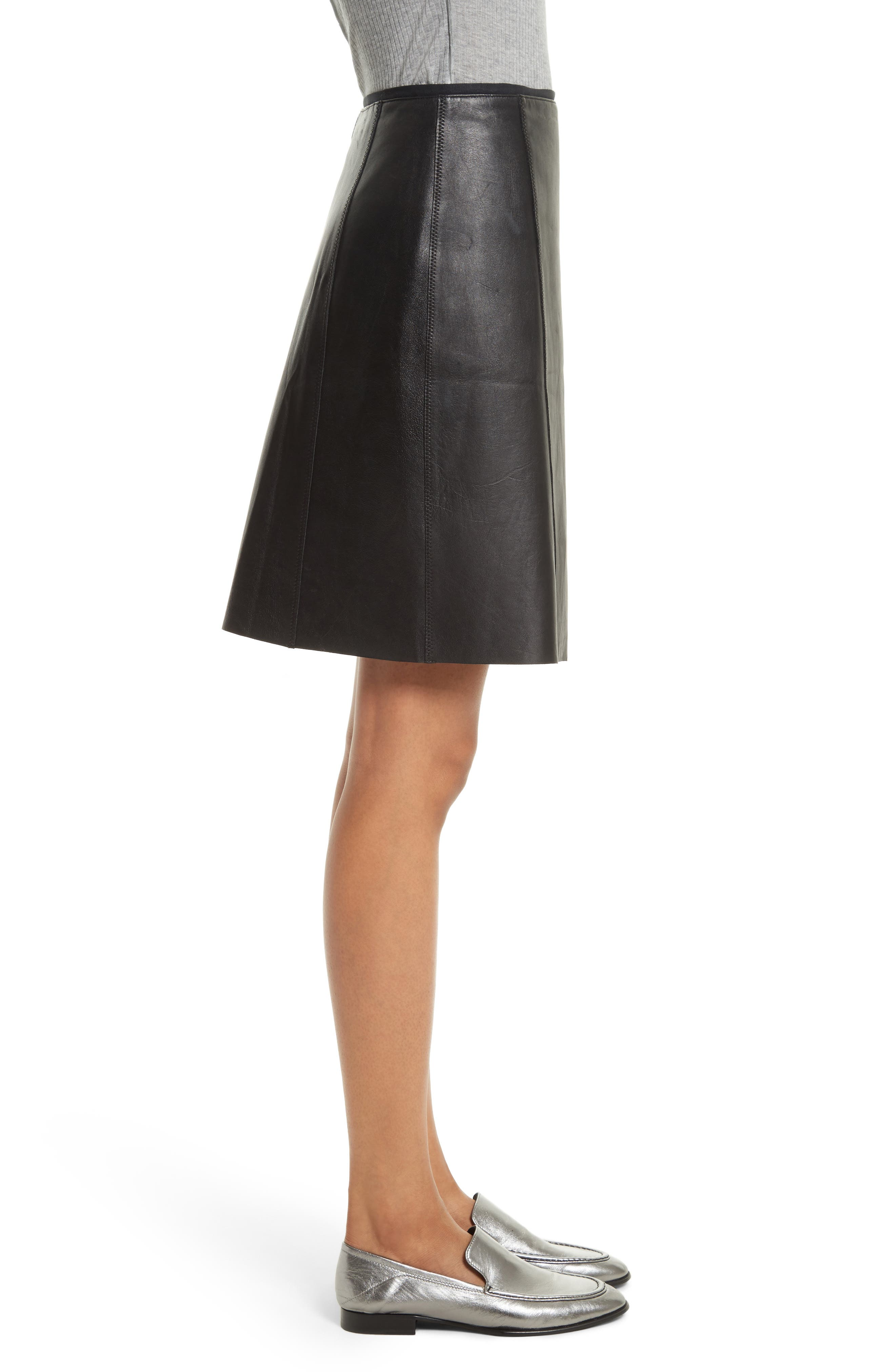 Lloyd Leather Skirt,                             Alternate thumbnail 3, color,