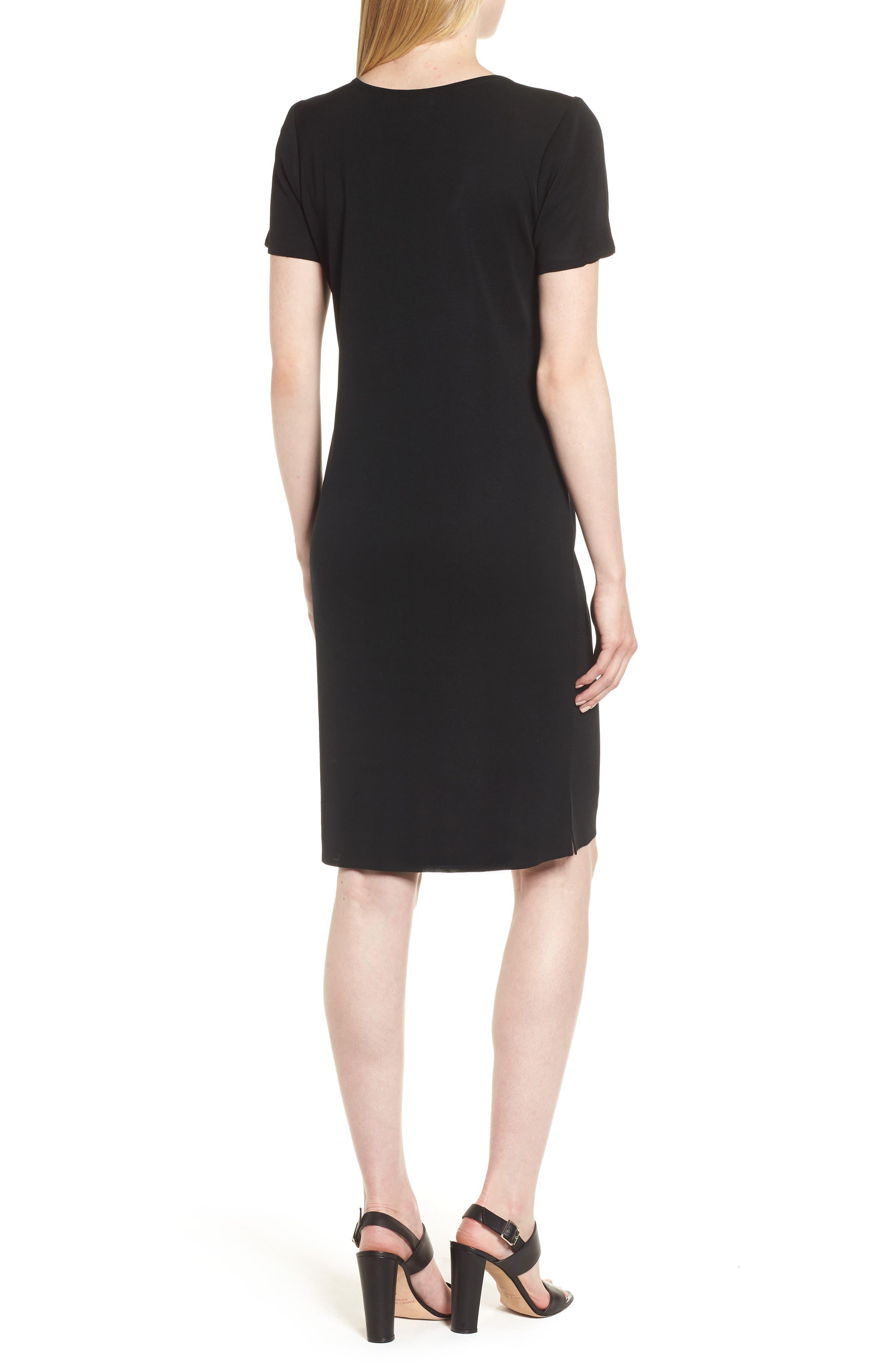 Short Sleeve Dress,                             Alternate thumbnail 3, color,                             BLACK