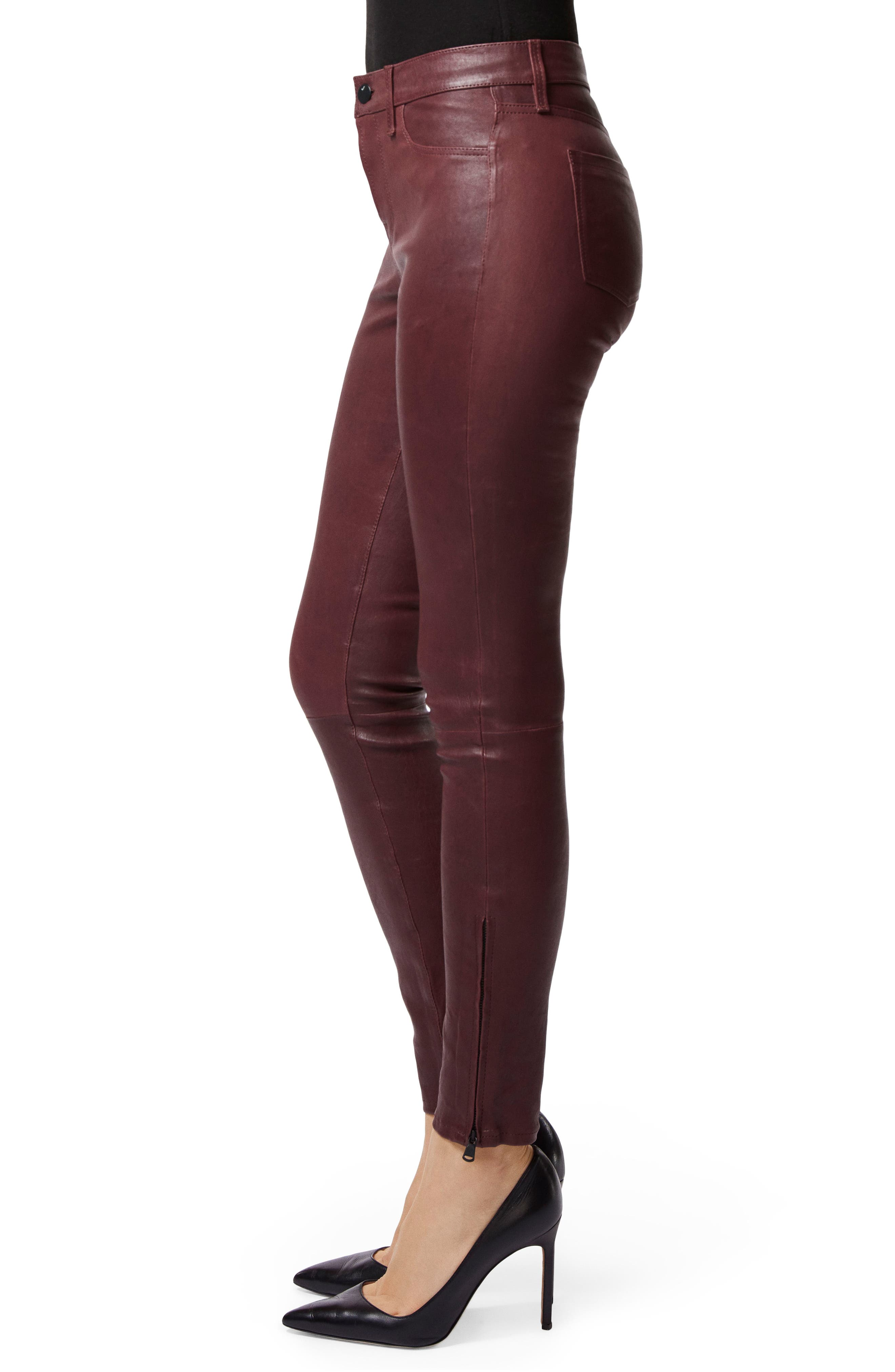 '8001' Lambskin Leather Pants,                             Alternate thumbnail 3, color,                             510