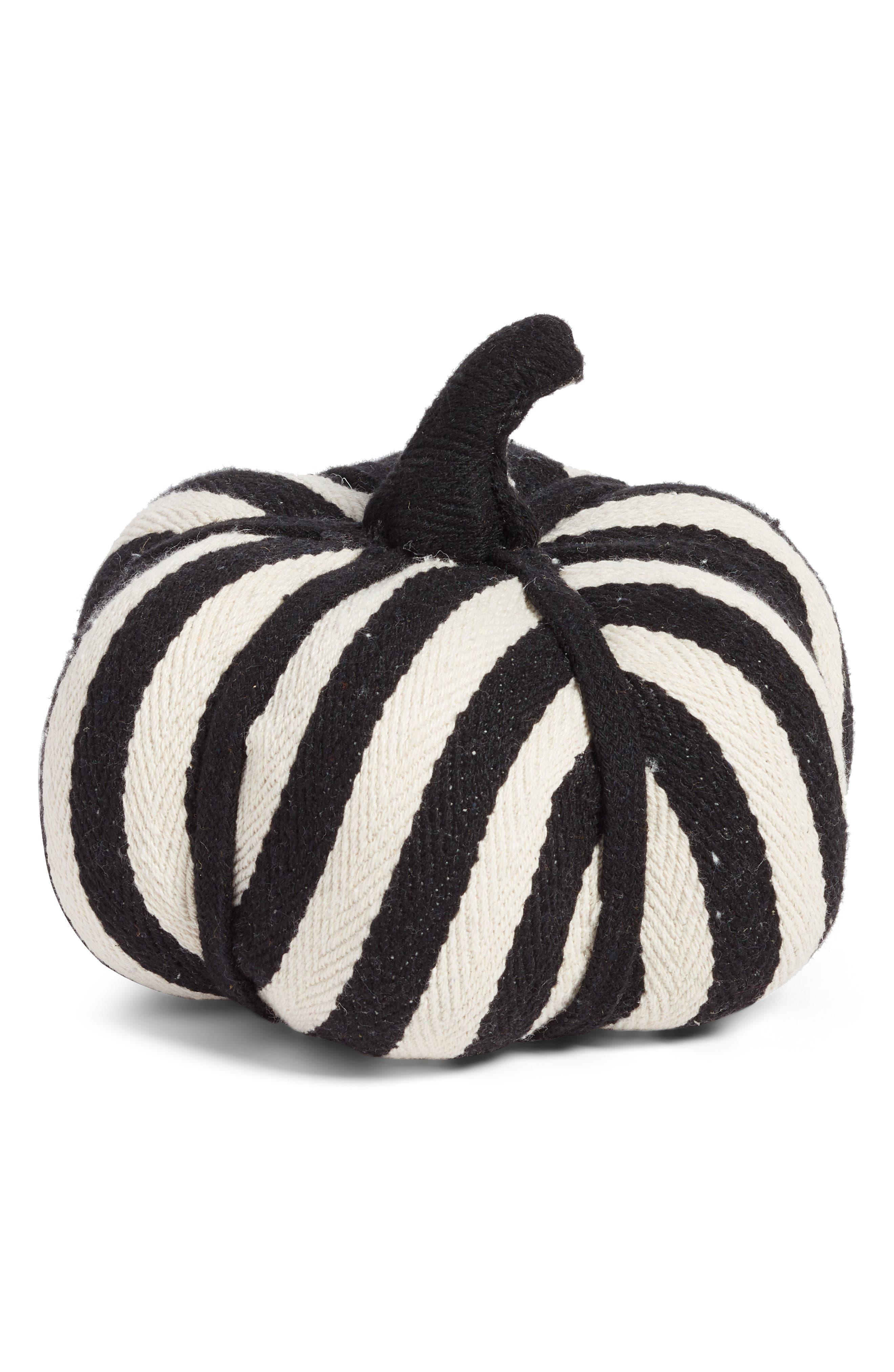 Large Stripe Fabric Pumpkin,                             Main thumbnail 1, color,                             001