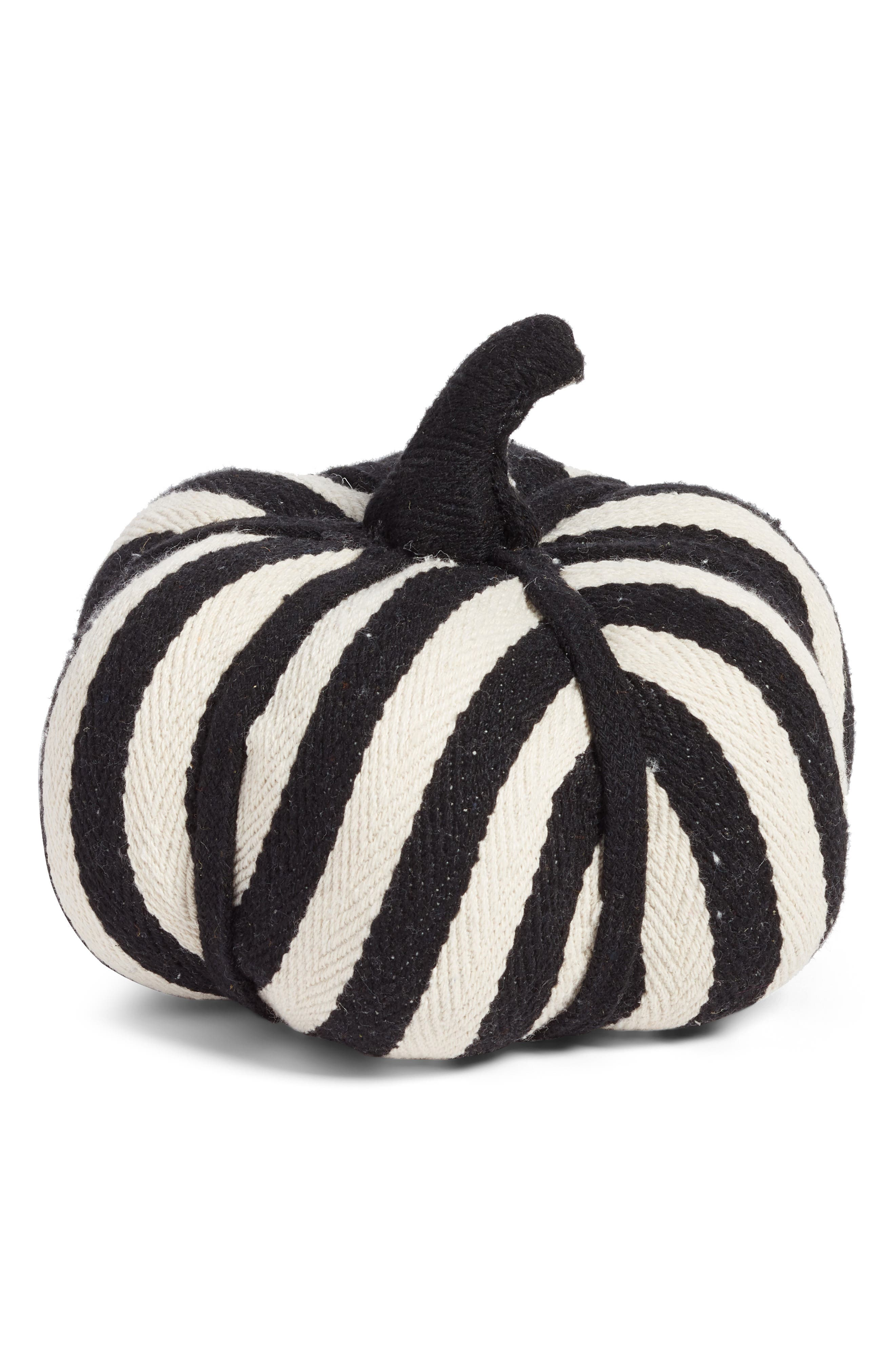 Large Stripe Fabric Pumpkin,                         Main,                         color, 001
