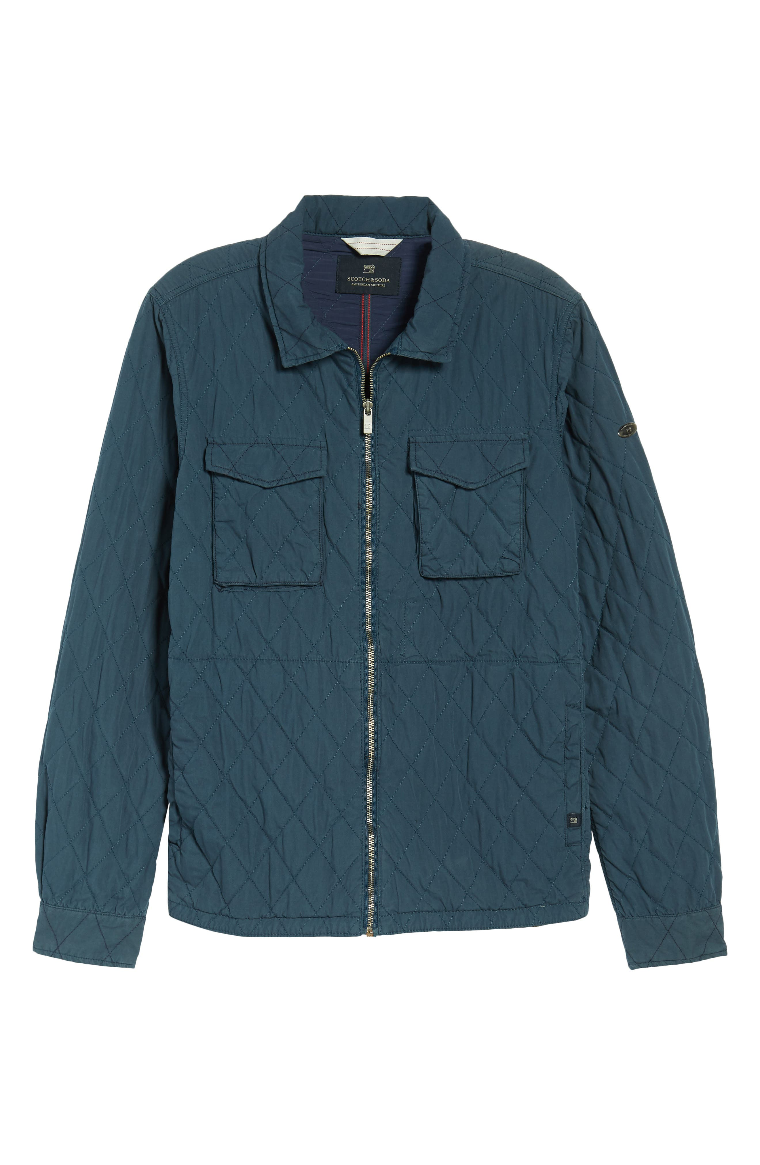 Quilted Shirt Jacket,                             Alternate thumbnail 5, color,                             STEEL