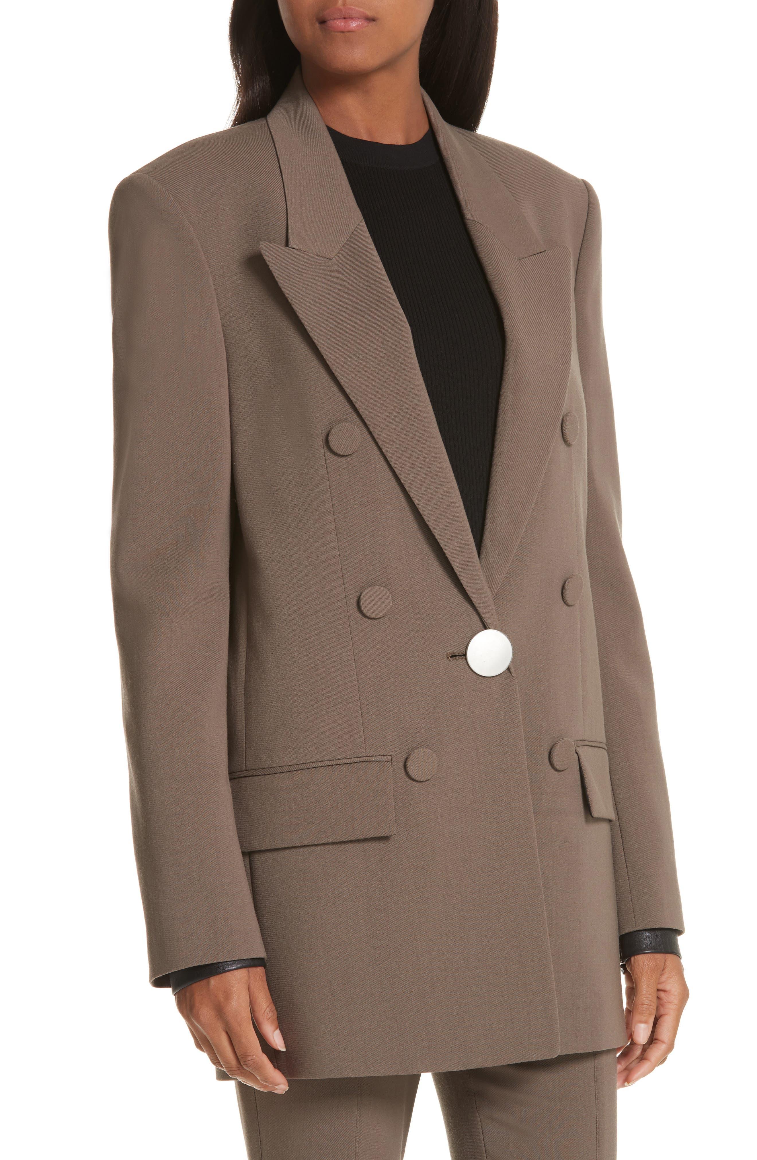 ALEXANDER WANG,                             Leather Cuff Blazer,                             Alternate thumbnail 5, color,                             KHAKI GREEN