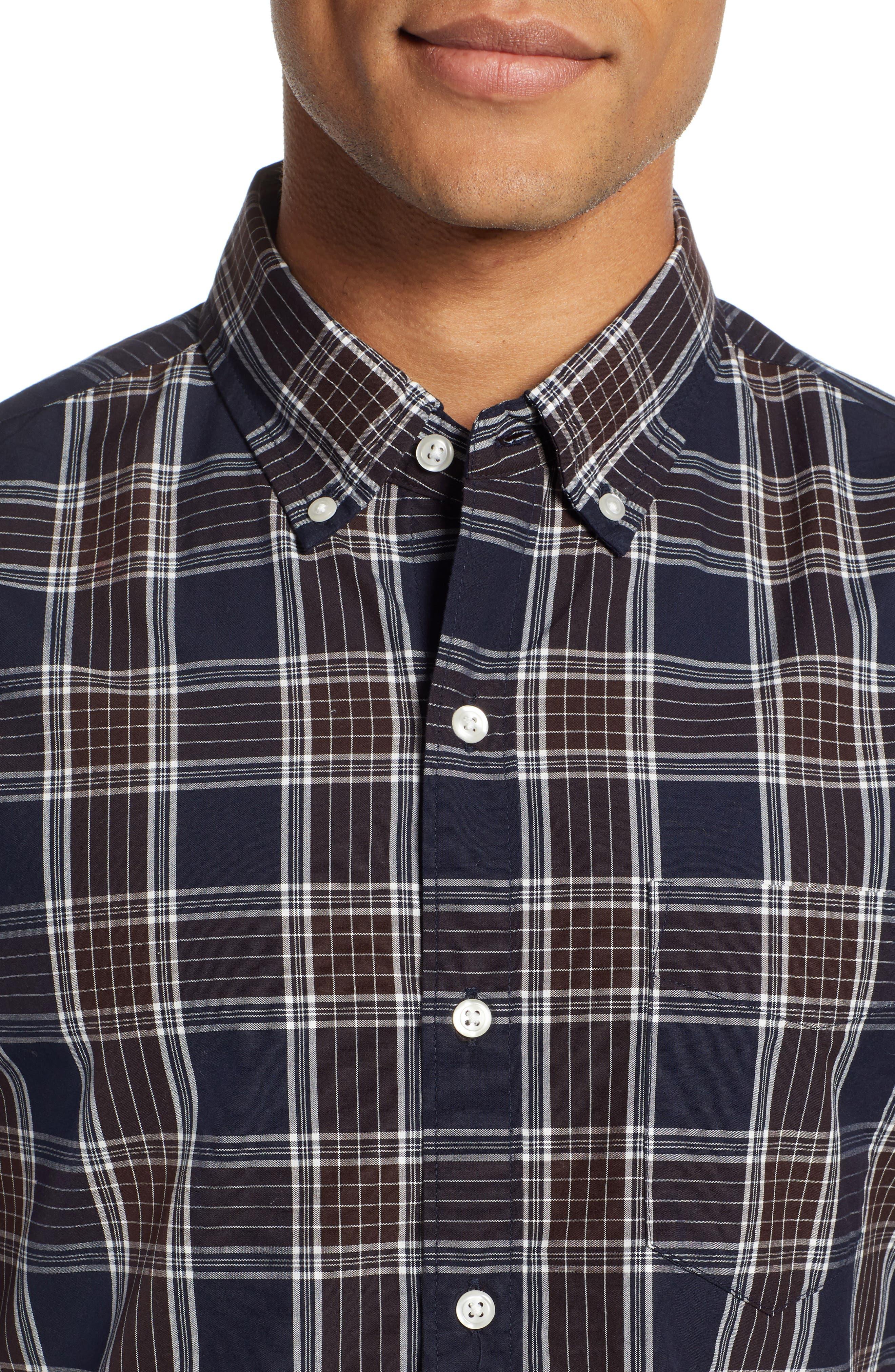 Washed Slim Fit Plaid Sport Shirt,                             Alternate thumbnail 2, color,                             HAWN LAKE PLAID - CEDAR SHAKES