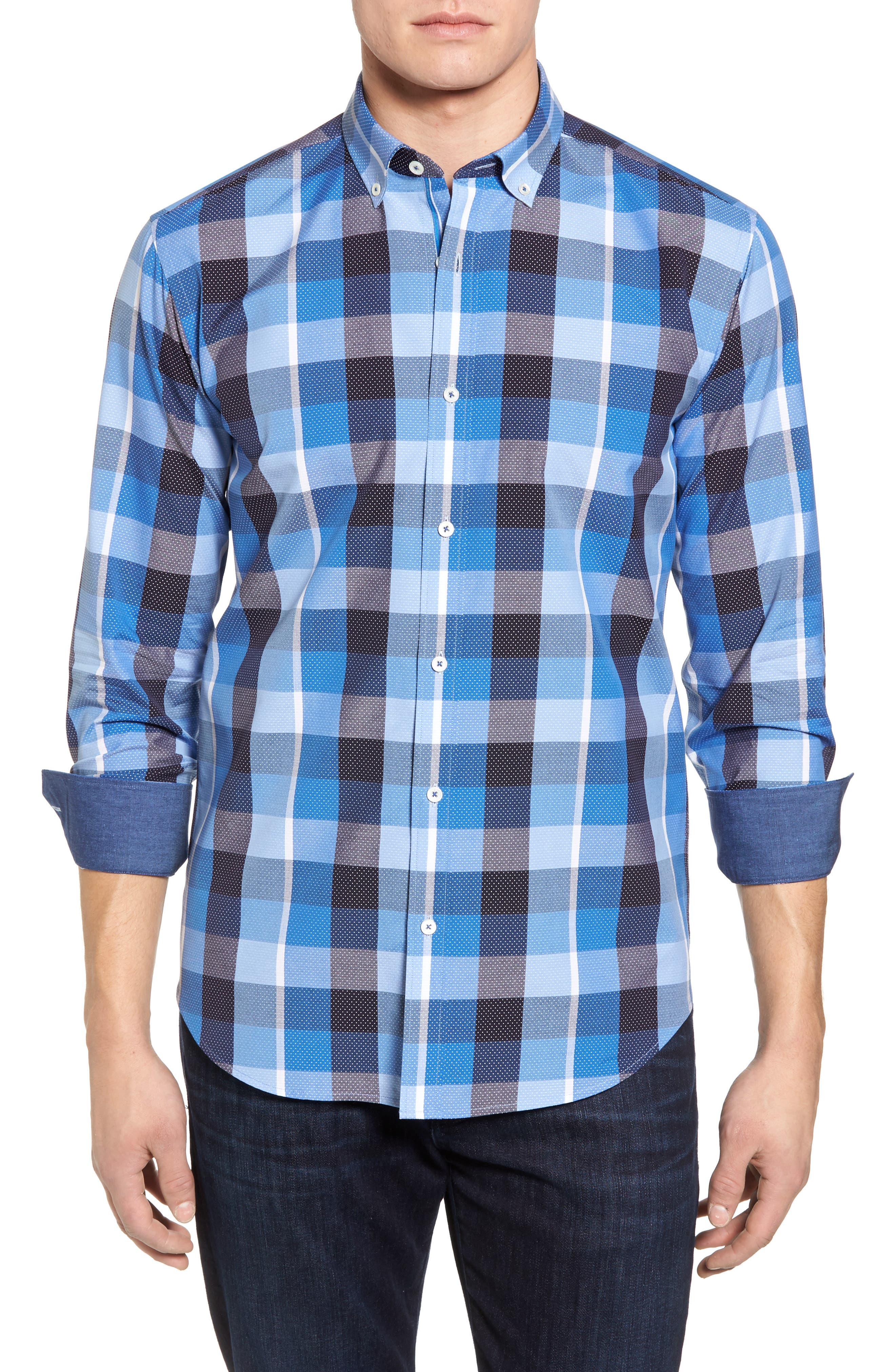 Shaped Fit Check Dot Sport Shirt,                         Main,                         color, 422