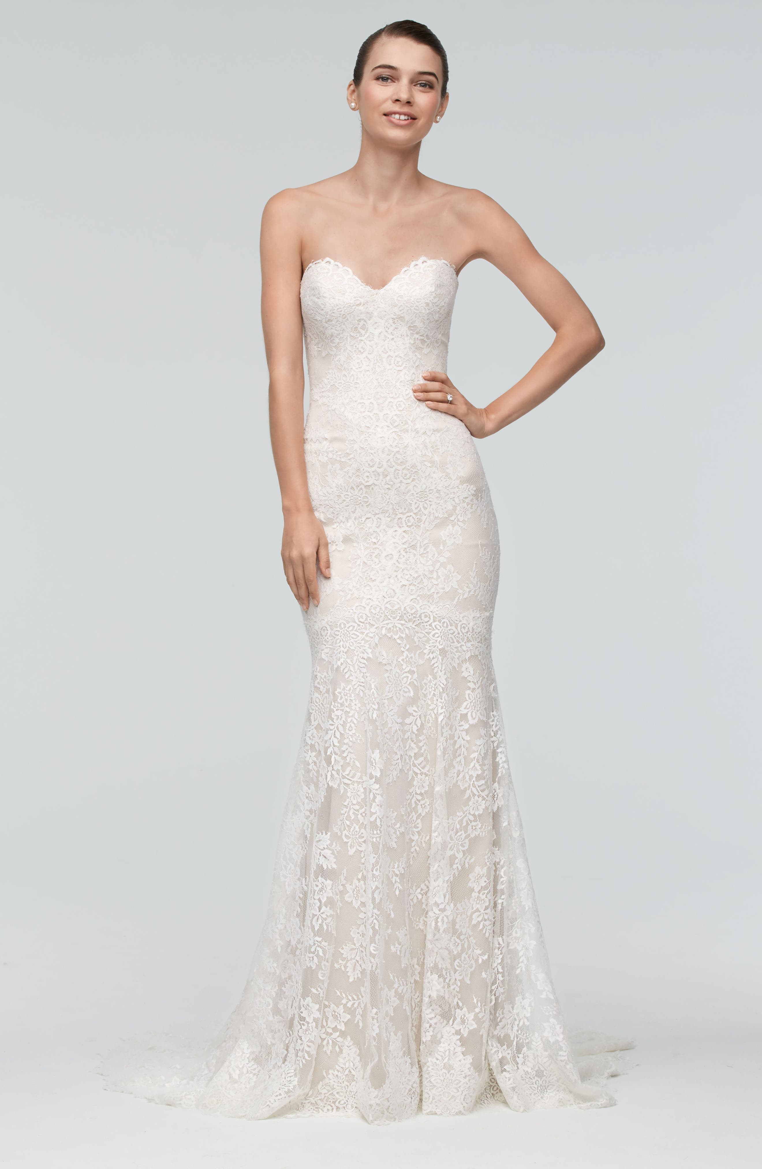 Oma Lace Trumpet Gown,                             Alternate thumbnail 3, color,                             900