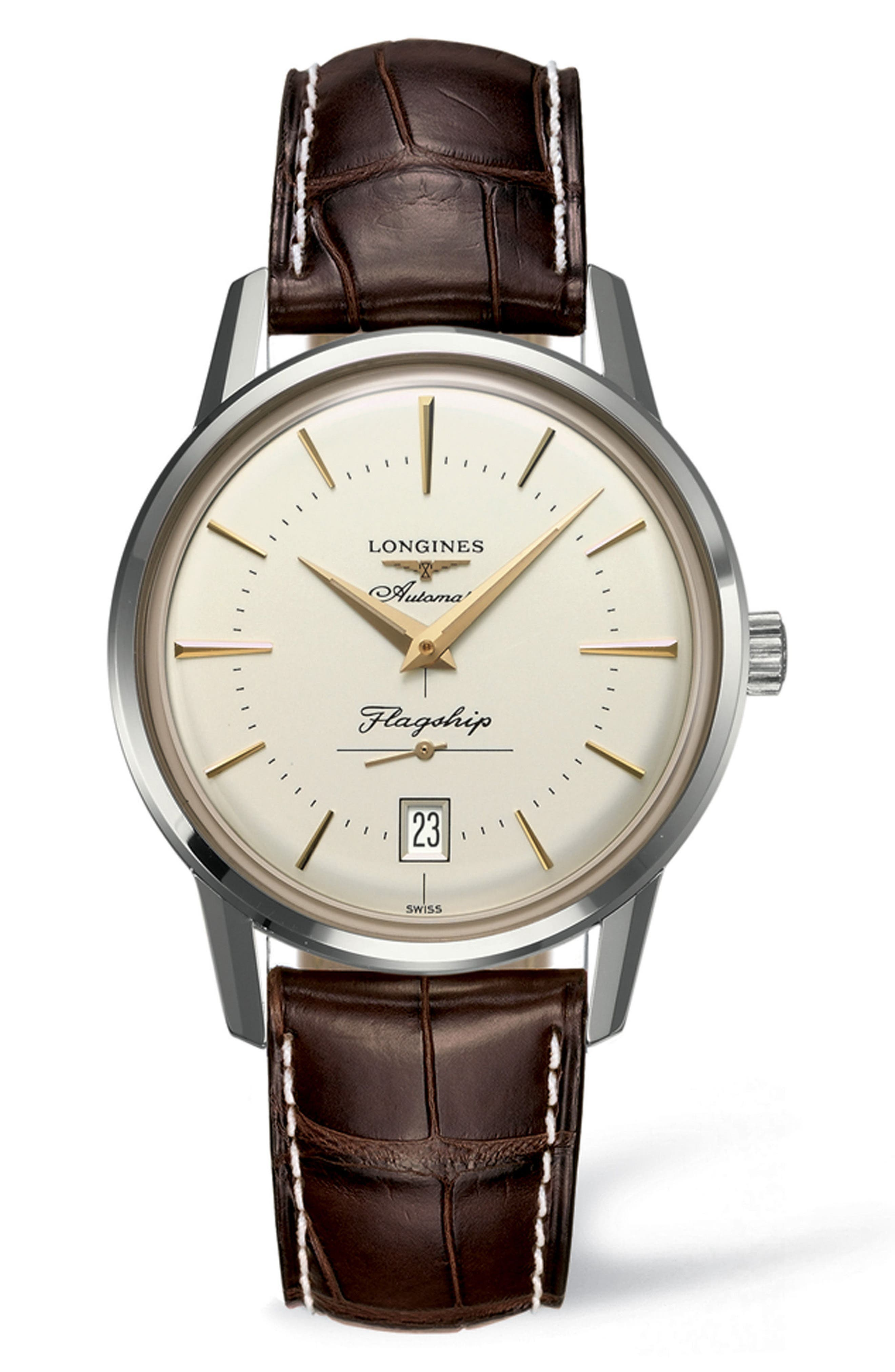 Flagship Heritage Automatic Leather Strap Watch, 38.5mm,                         Main,                         color, BROWN/ SILVER