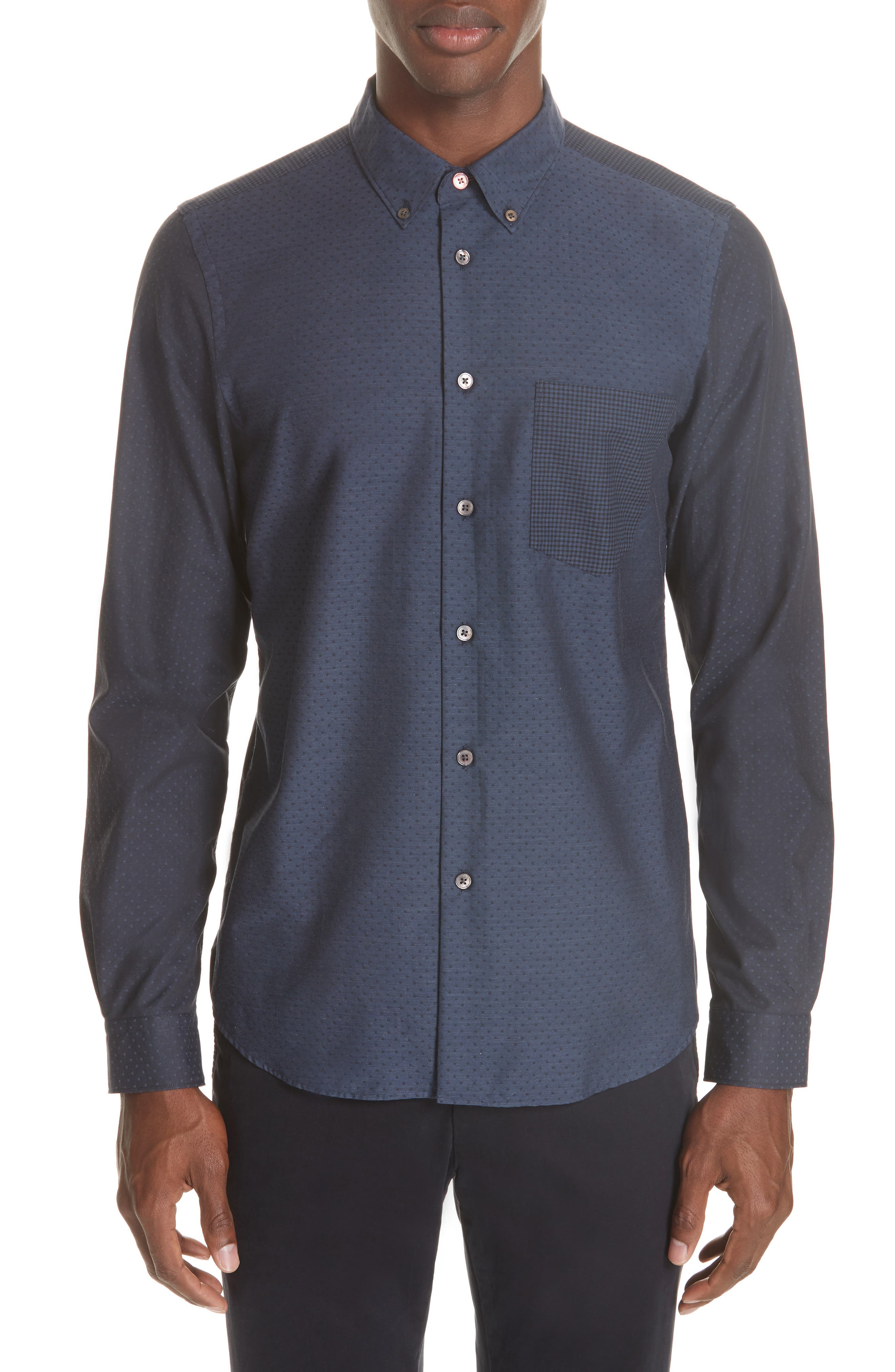 Mixed Print Sport Shirt,                         Main,                         color, NAVY