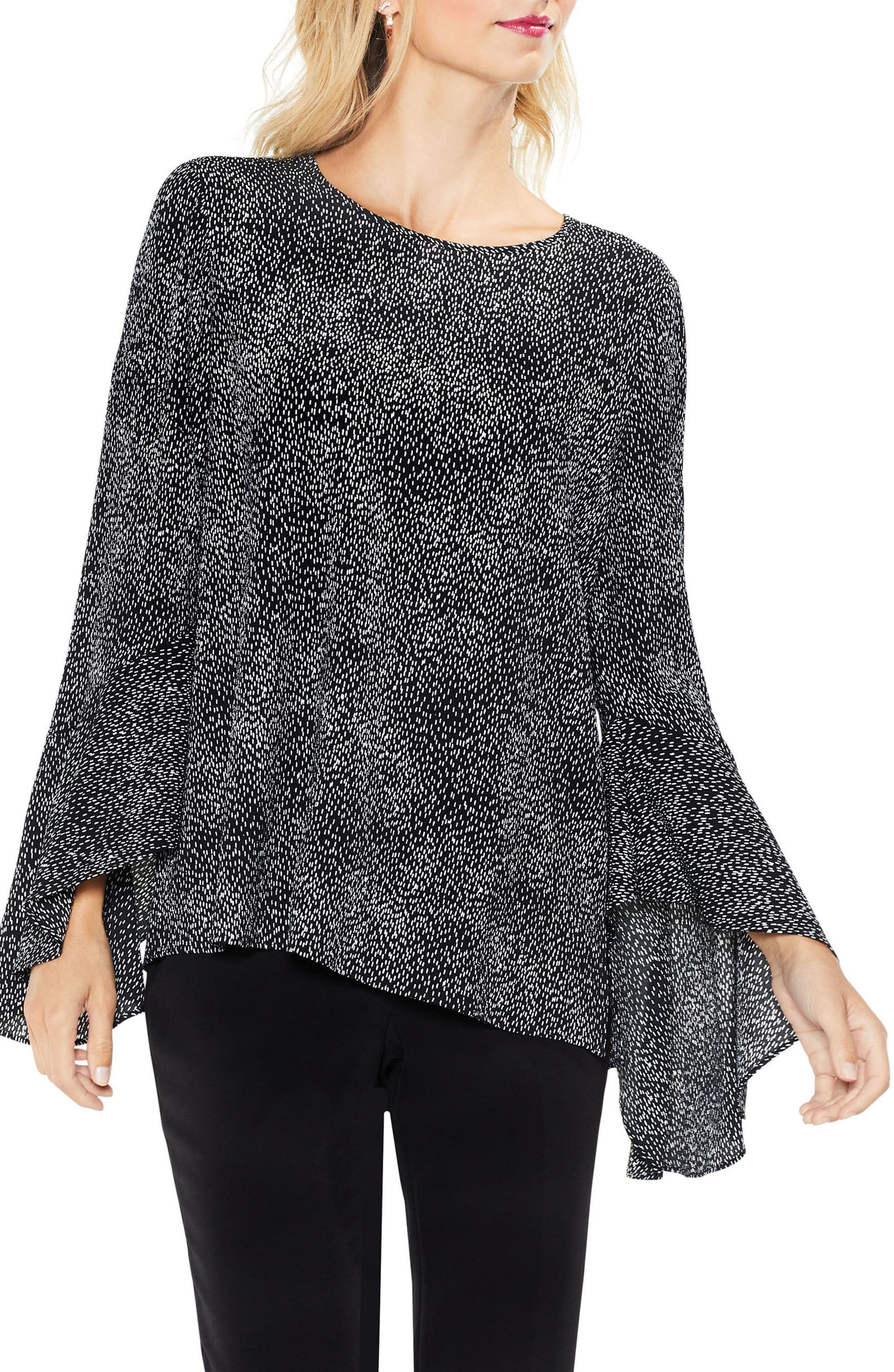 Bell Sleeve Dashes Top,                             Main thumbnail 1, color,                             010