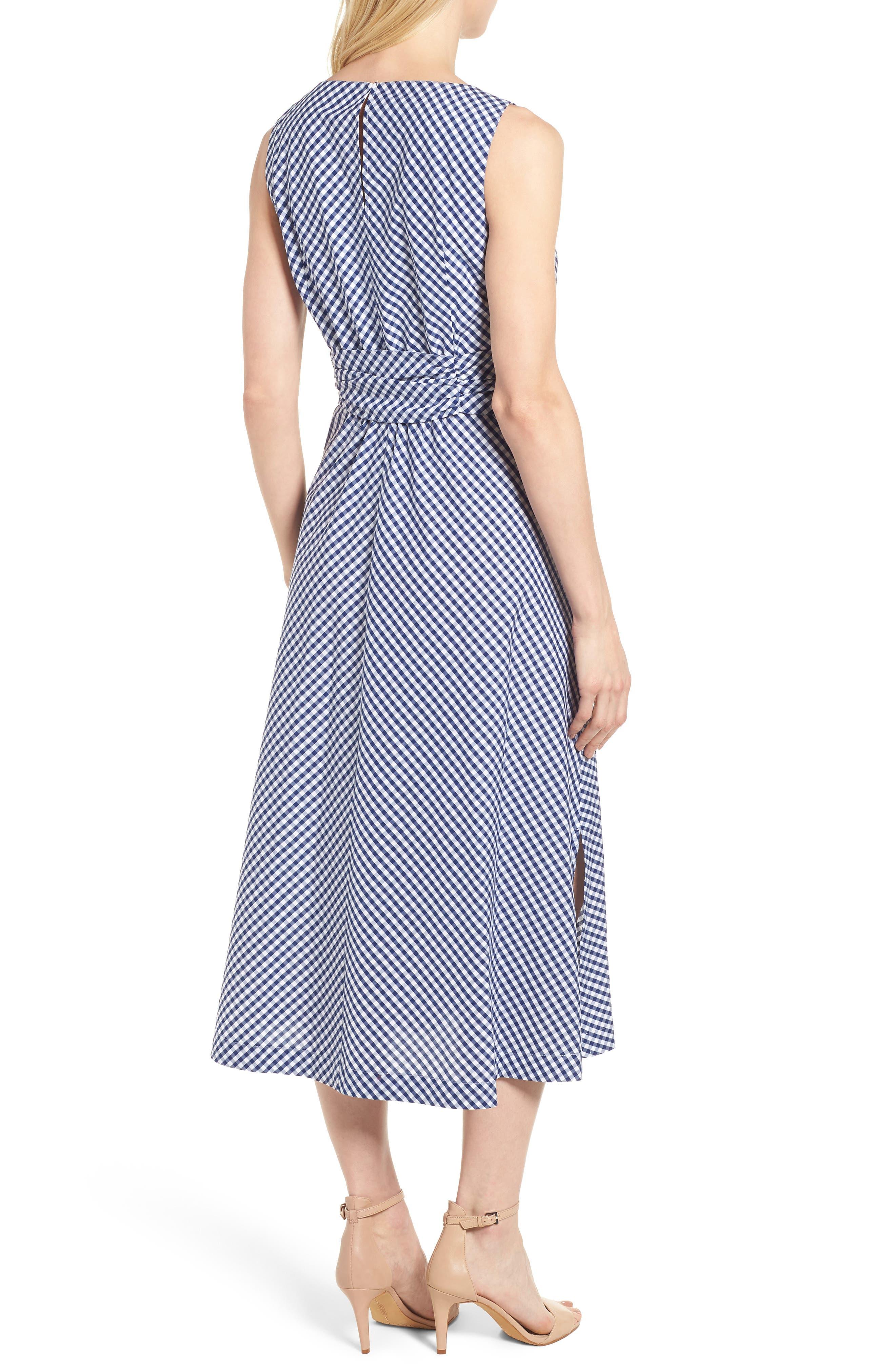 Cotton Gingham Midi Dress,                             Alternate thumbnail 2, color,                             400