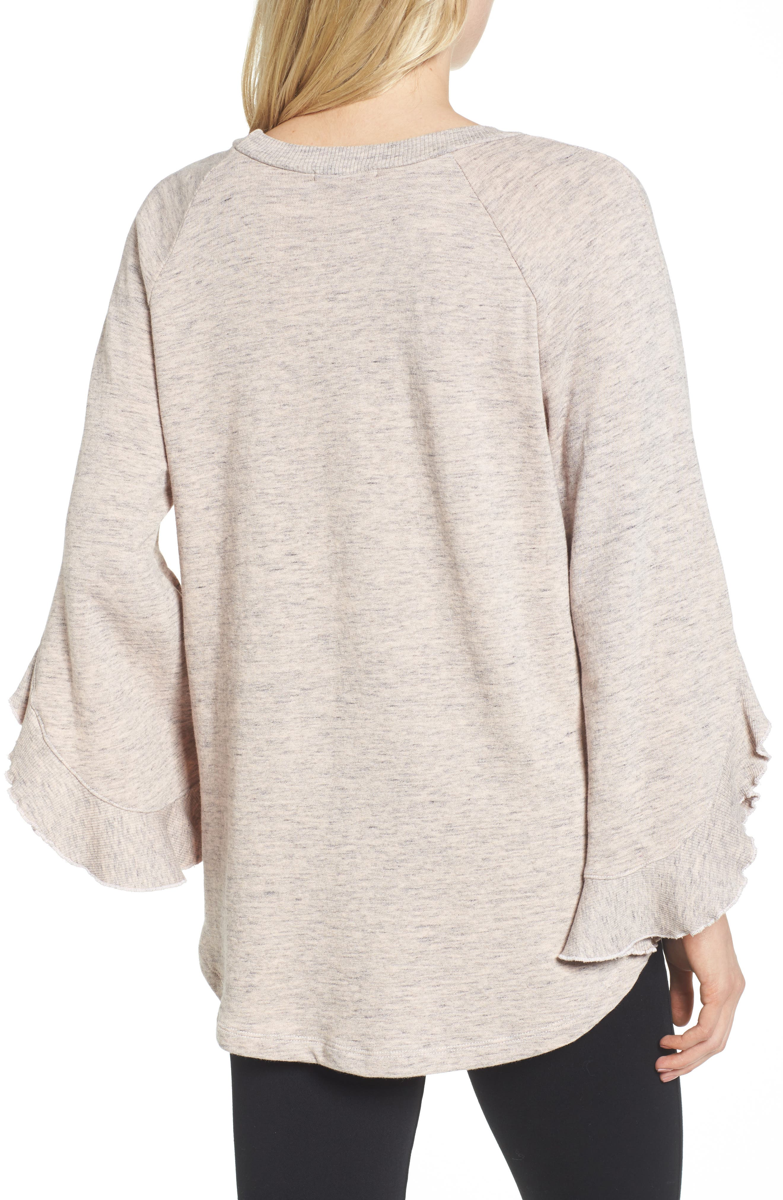 Ruffle Split Sleeve Cotton Sweatshirt,                             Alternate thumbnail 4, color,