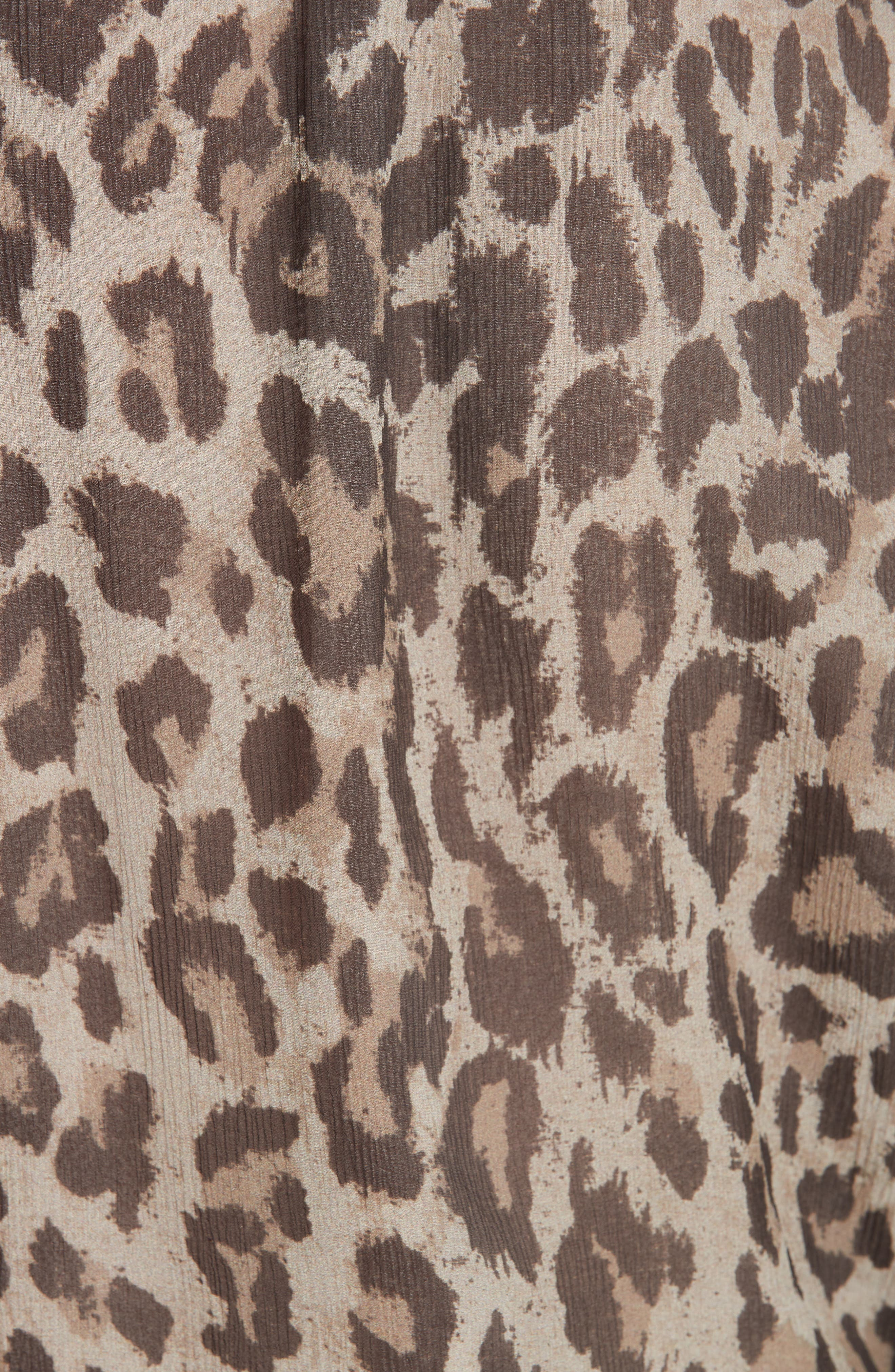 Leopard Print Silk Wrap Top,                             Alternate thumbnail 5, color,                             200