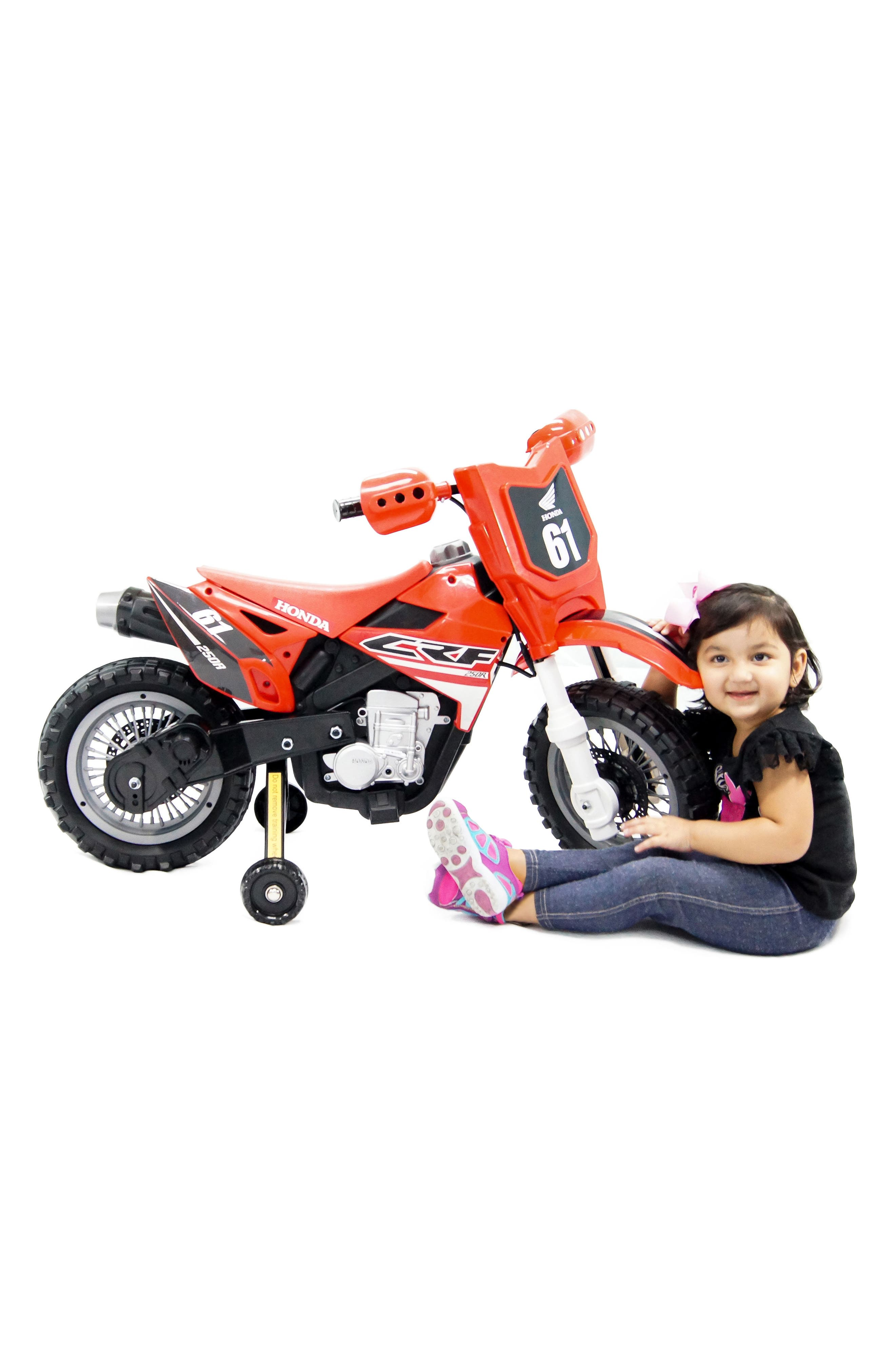 Honda Dirt Bike Ride-On Toy Motorcycle,                             Alternate thumbnail 7, color,                             RED
