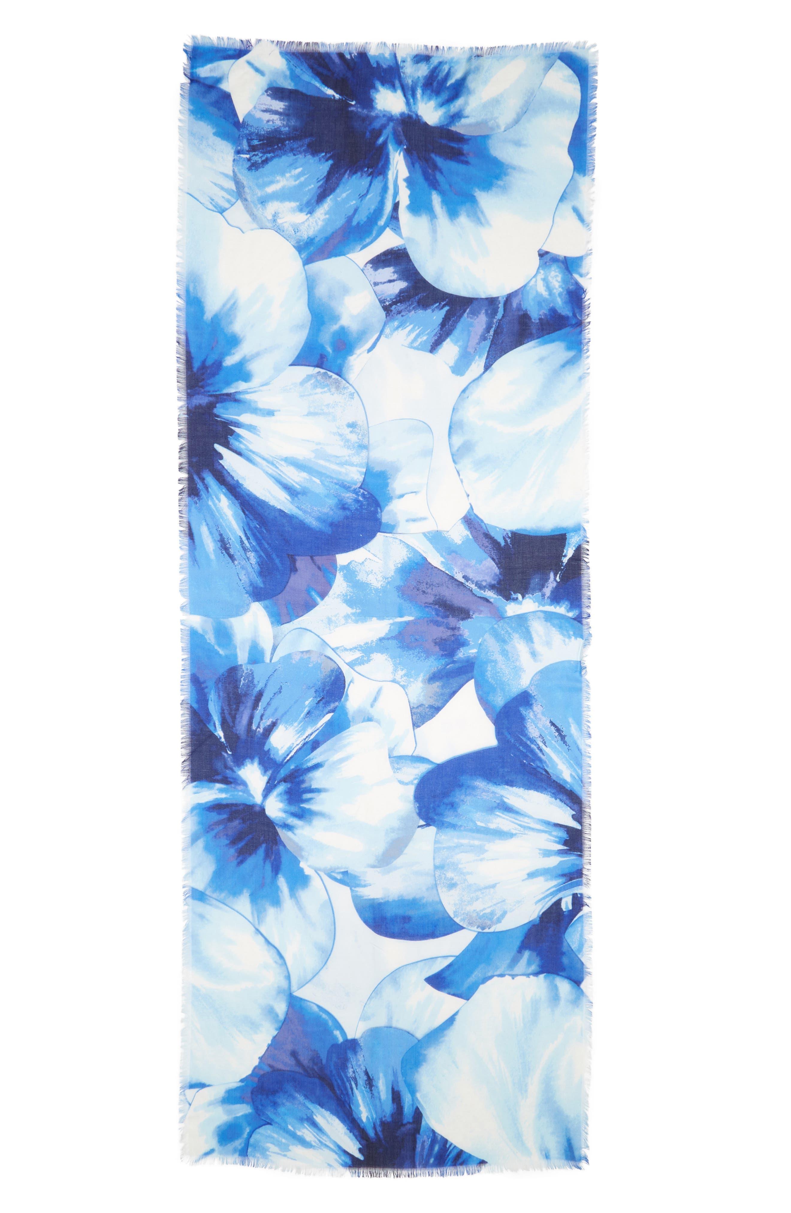 Eyelash Trim Print Cashmere & Silk Wrap,                             Alternate thumbnail 43, color,