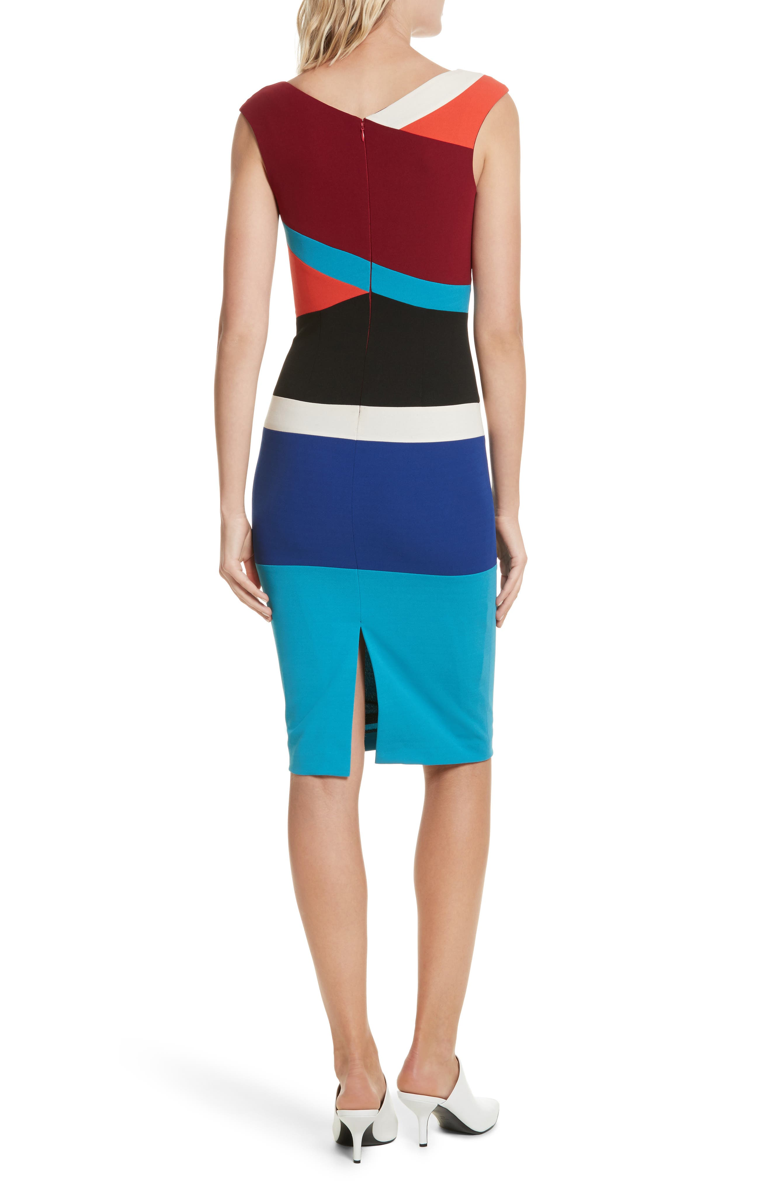 Colorblock Surplice Dress,                             Alternate thumbnail 2, color,                             498