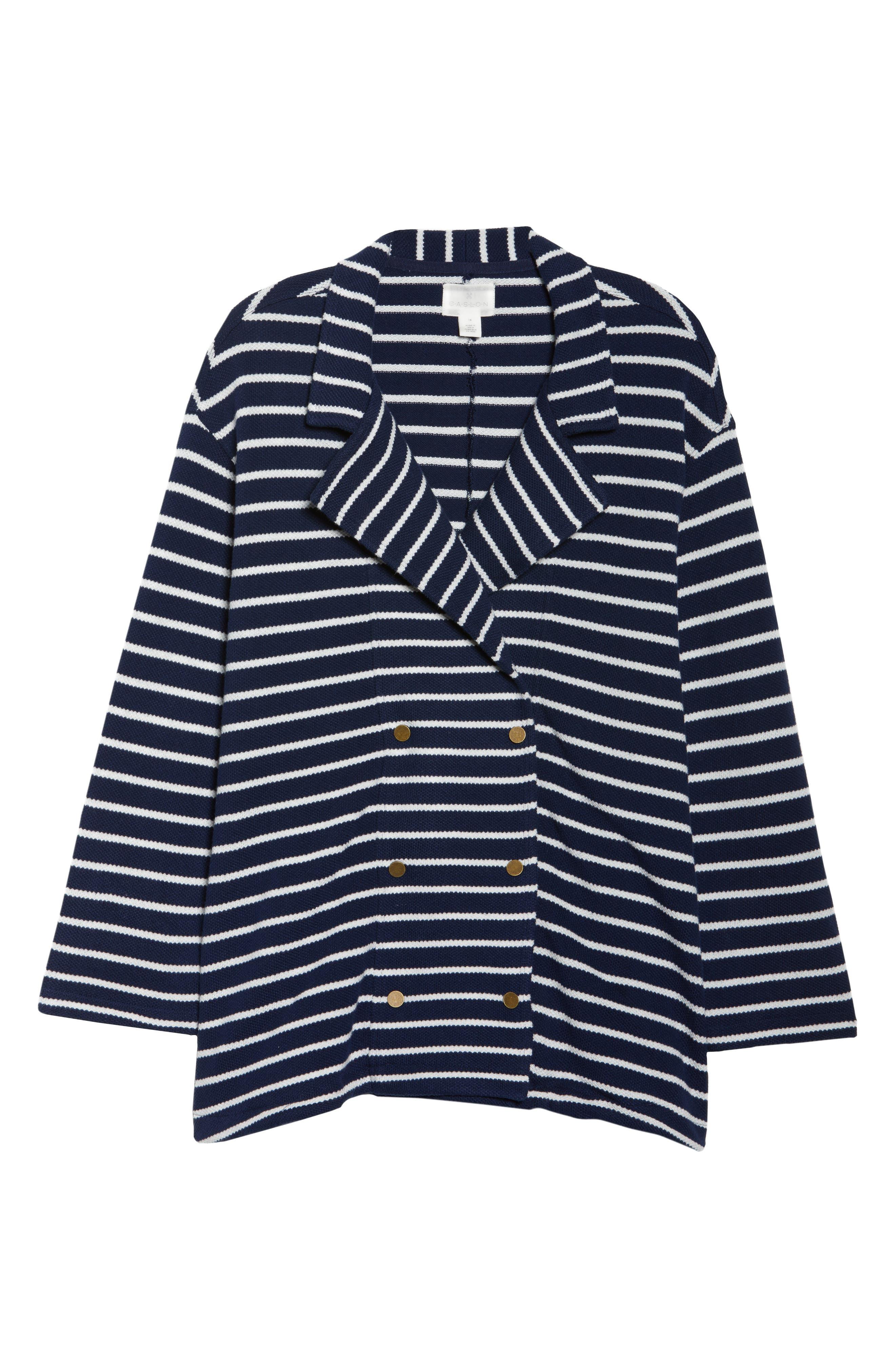 Stripe Peacoat Knit Jacket,                             Alternate thumbnail 6, color,                             410
