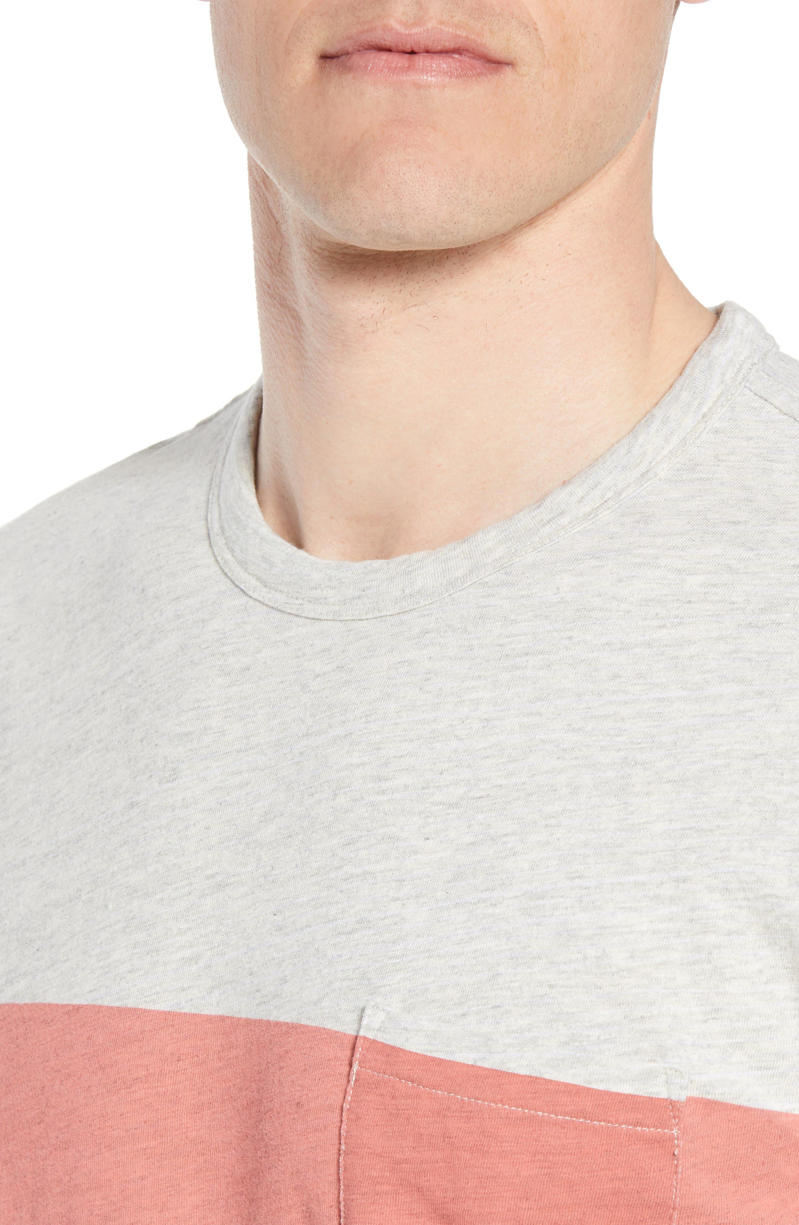 Chest Stripe Pocket T-Shirt,                             Alternate thumbnail 4, color,                             HEATHER GREY STRIPE