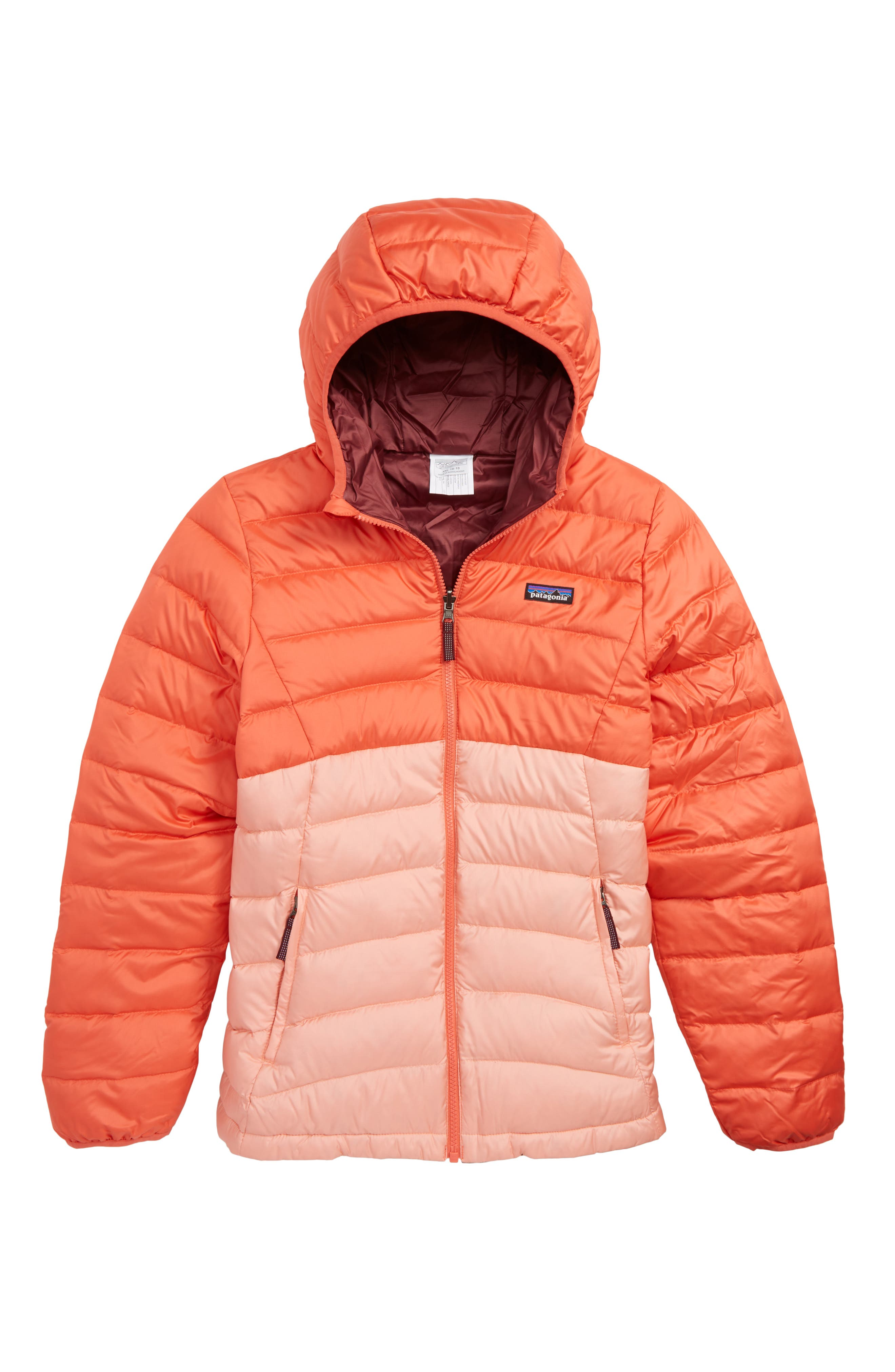 Reversible Water Repellent 600 Fill Power Down Hooded Jacket,                         Main,                         color, SPICED CORAL