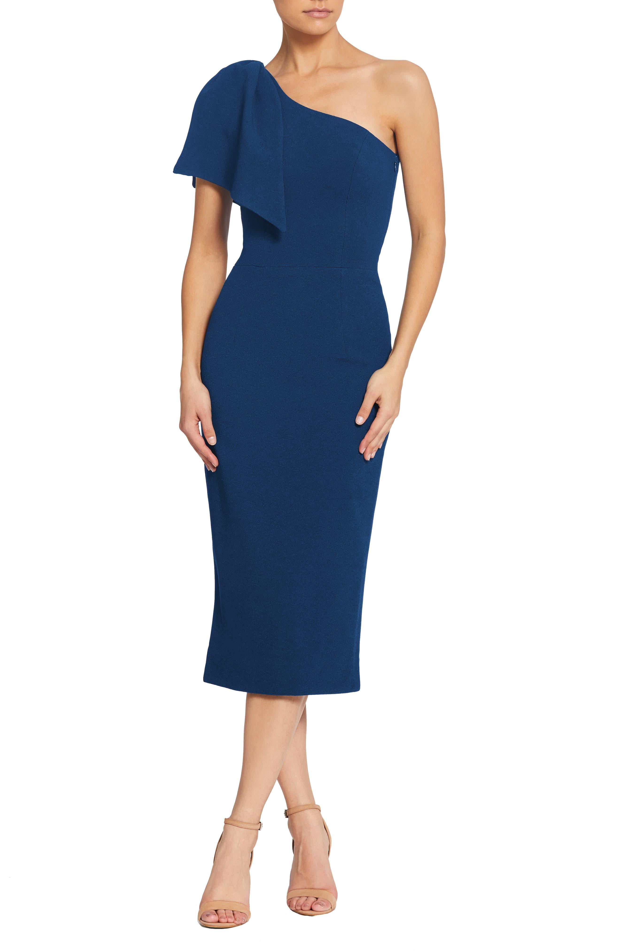 Dress The Population Tiffany One-Shoulder Midi Dress, Blue