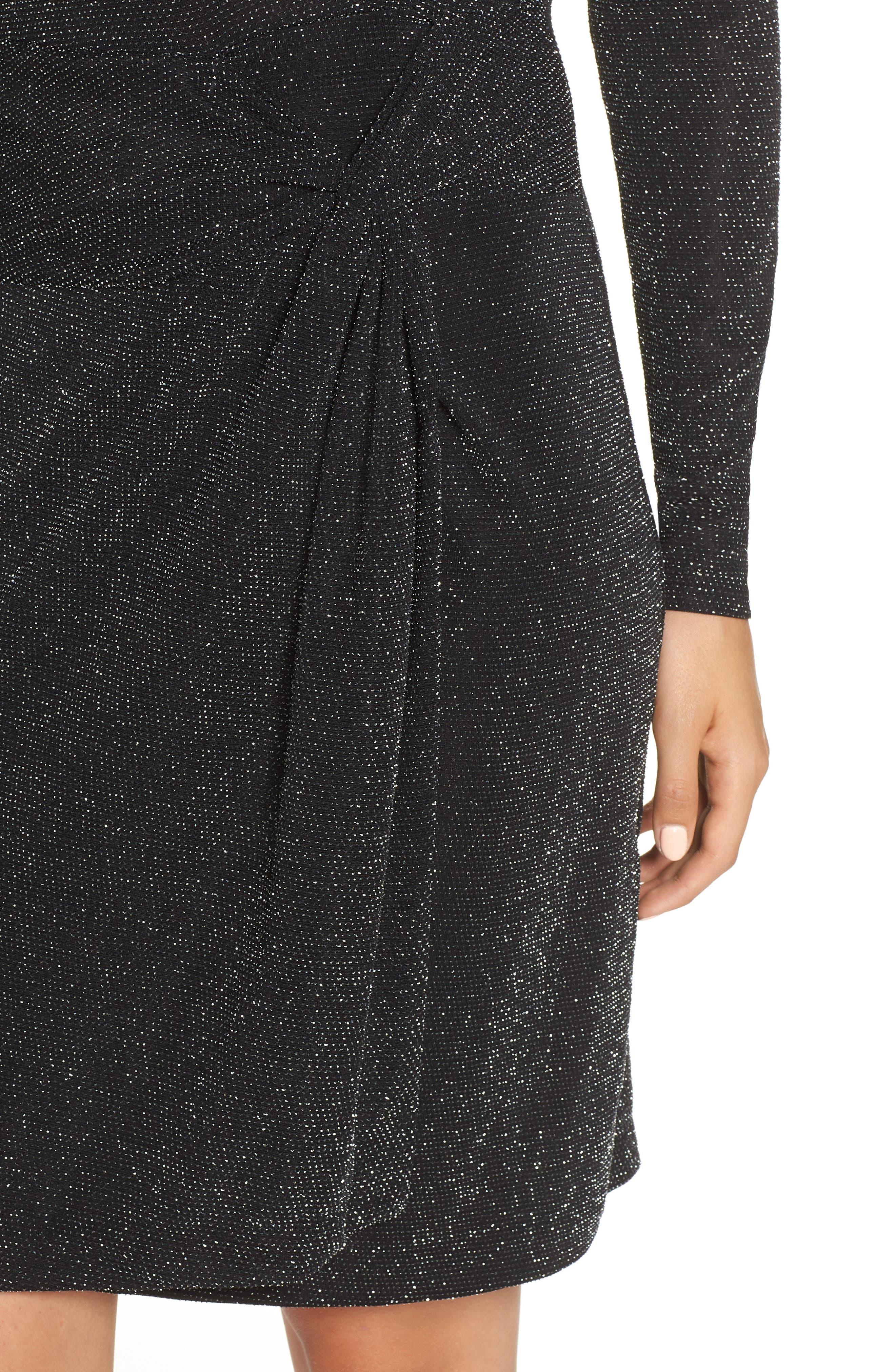 Side Twist Mock Neck Dress,                             Alternate thumbnail 4, color,                             040