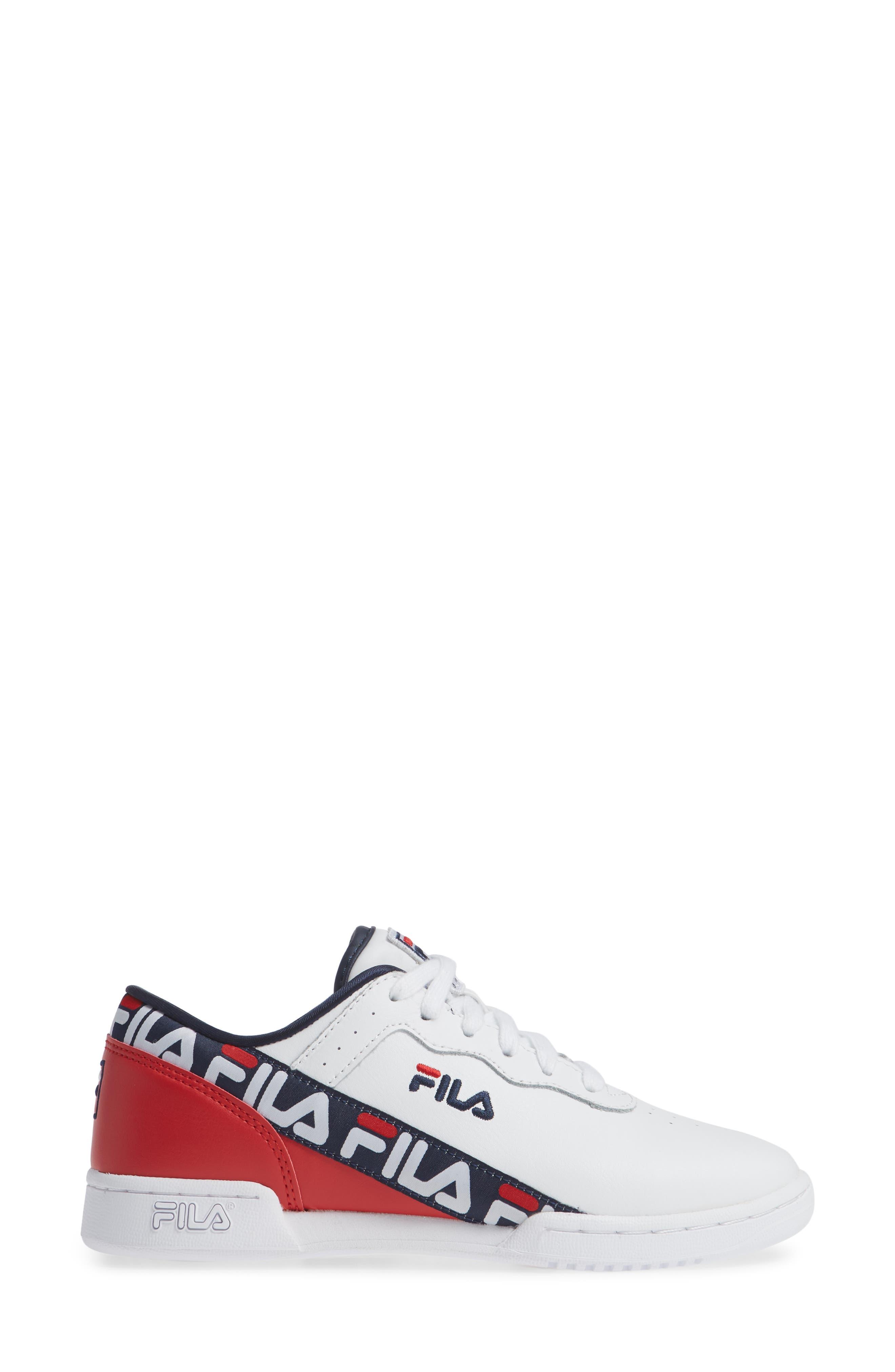 Original Fitness Logo Tape Sneaker,                             Alternate thumbnail 3, color,                             WHITE/ NAVY/ RED