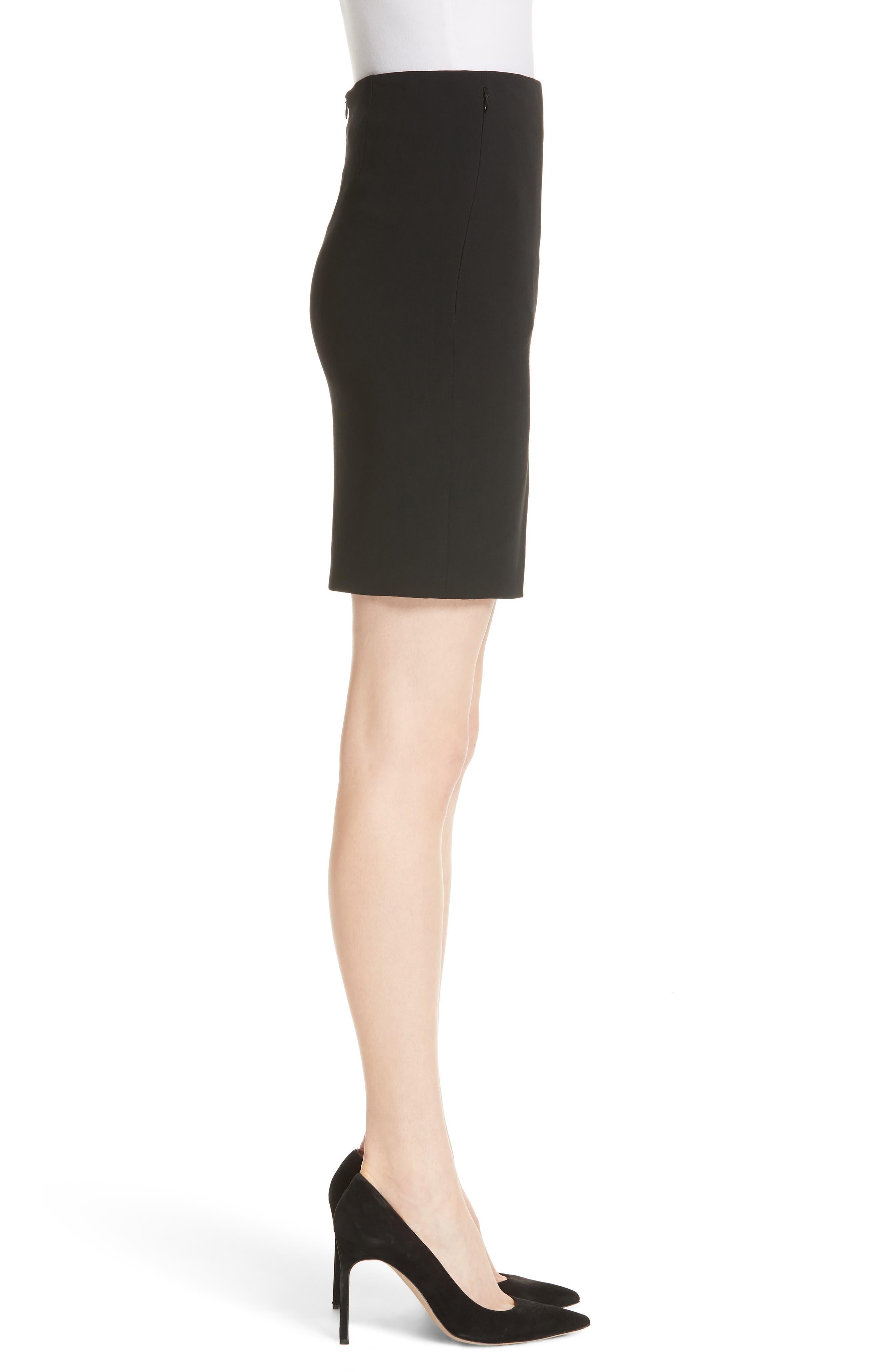 Double Face Pencil Skirt,                             Alternate thumbnail 3, color,                             BLACK