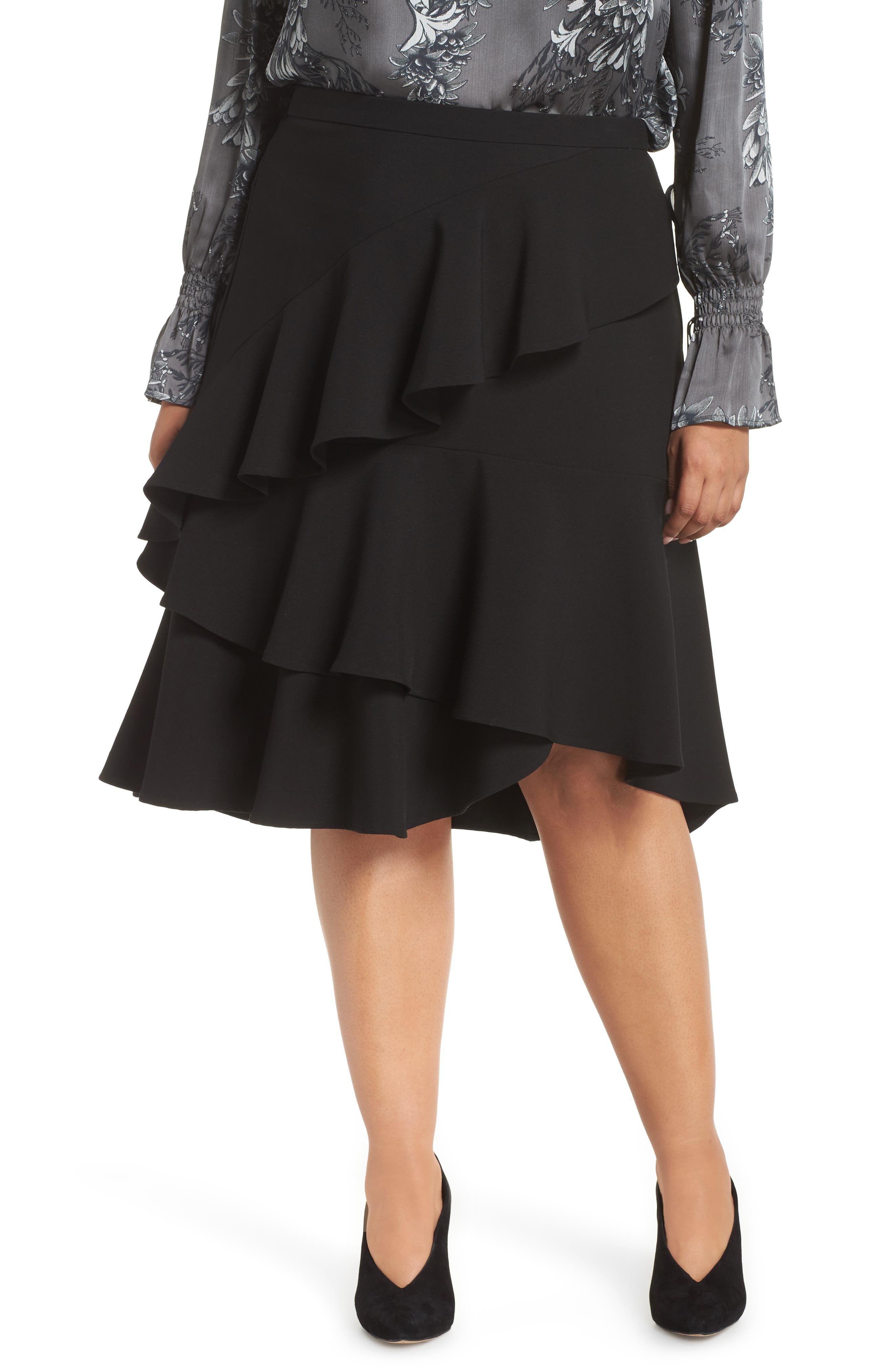 Tiered Ruffle Crepe Skirt,                         Main,                         color, RICH BLACK