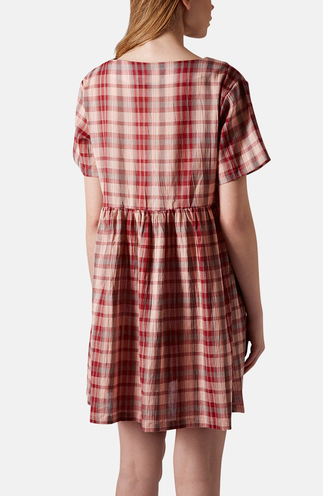 Plaid Cotton Smock Dress,                             Alternate thumbnail 3, color,                             600