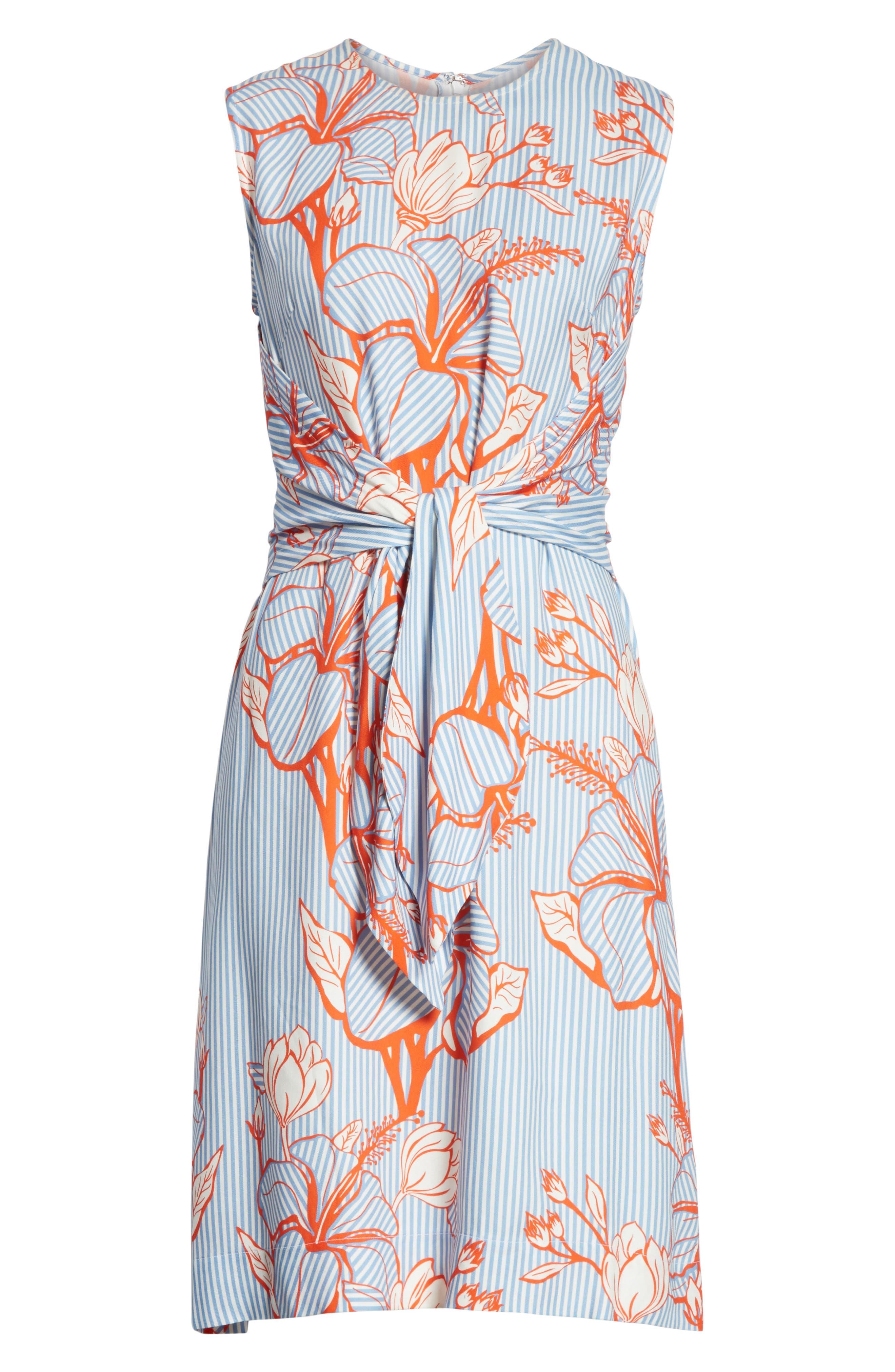 Tie Front Floral Stripe Dress,                             Alternate thumbnail 7, color,