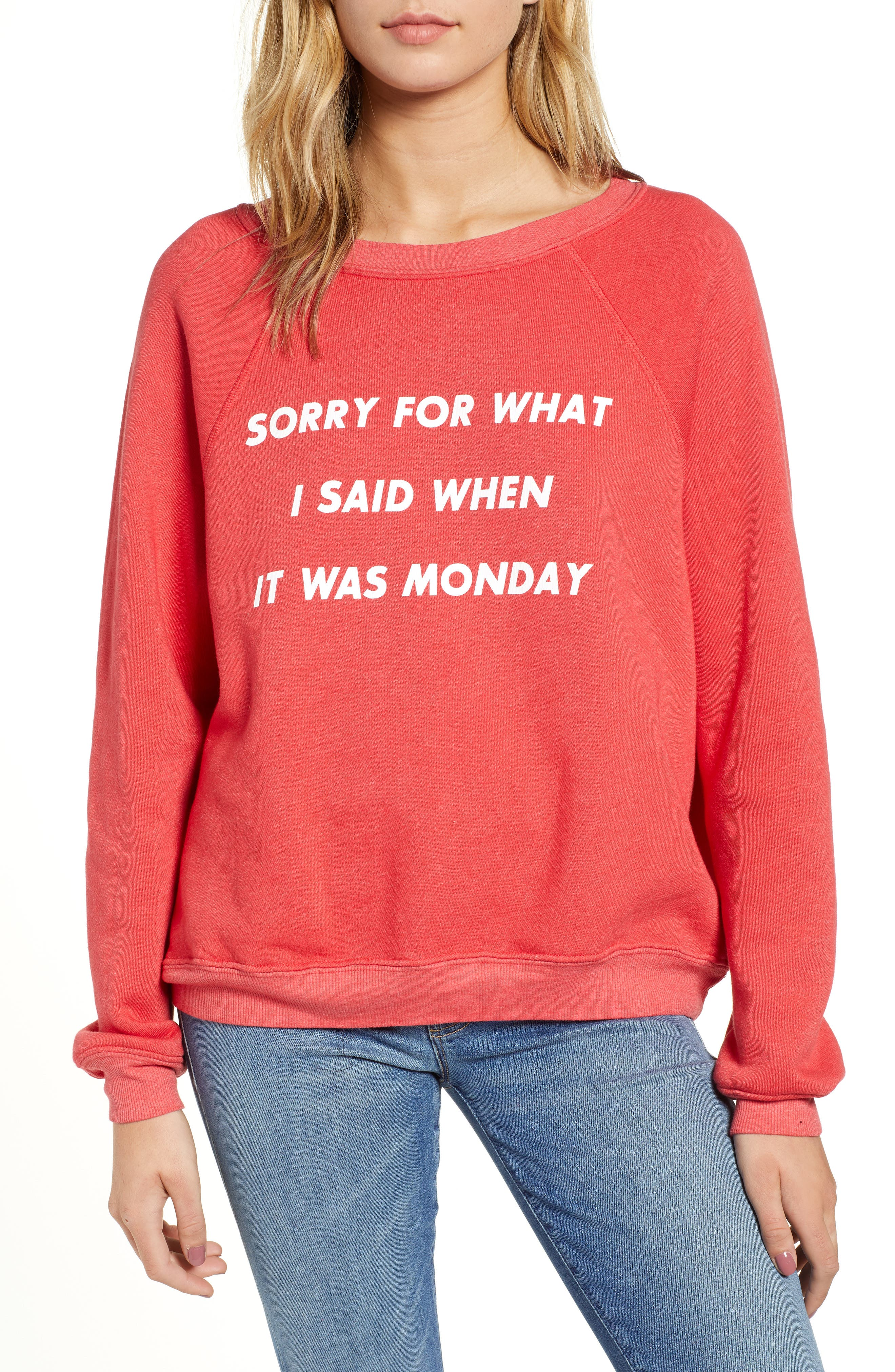 Monday Sommer Sweatshirt,                             Main thumbnail 1, color,                             SCARLET