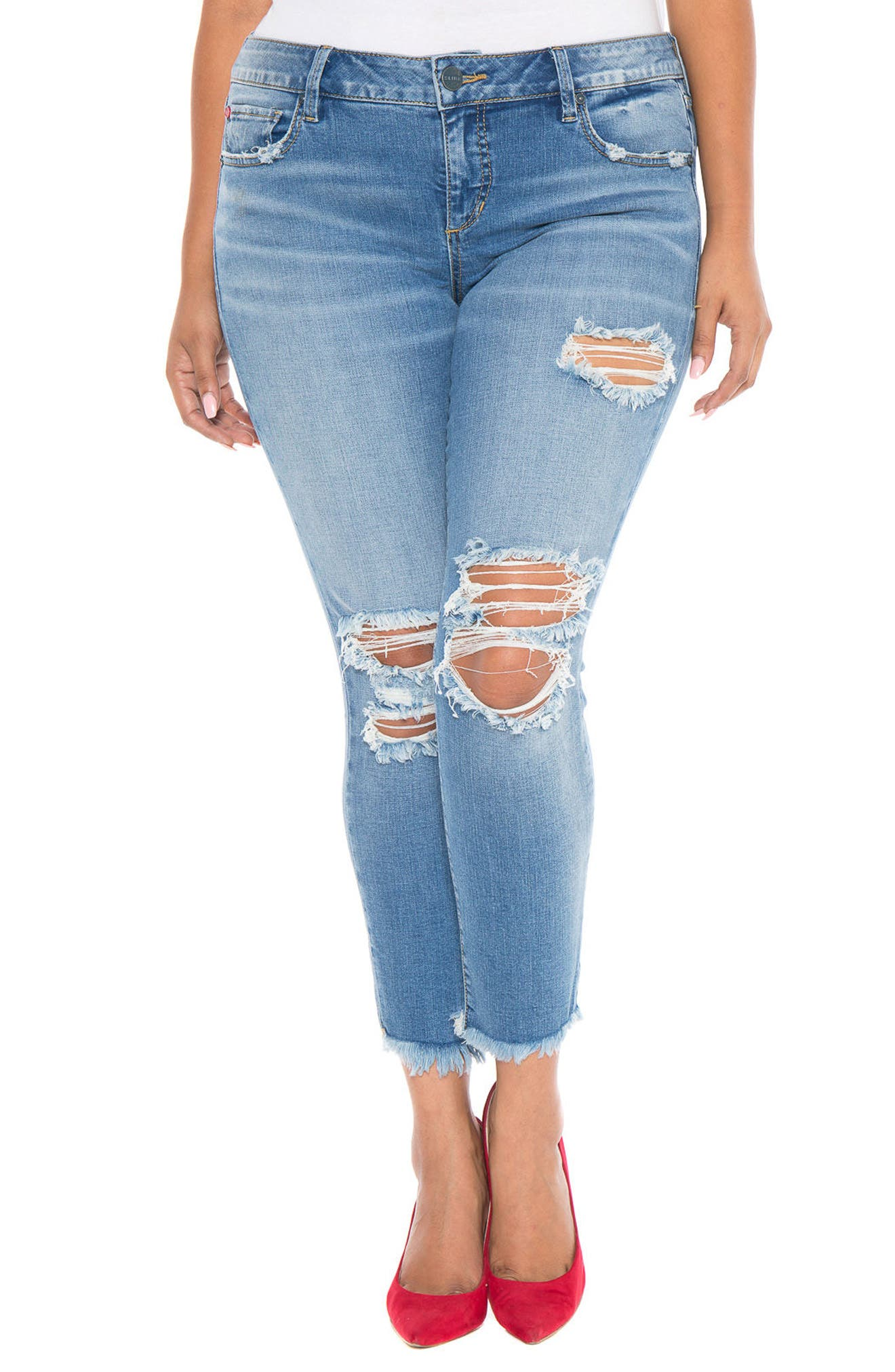 Destroyed Ankle Jeans,                             Main thumbnail 1, color,