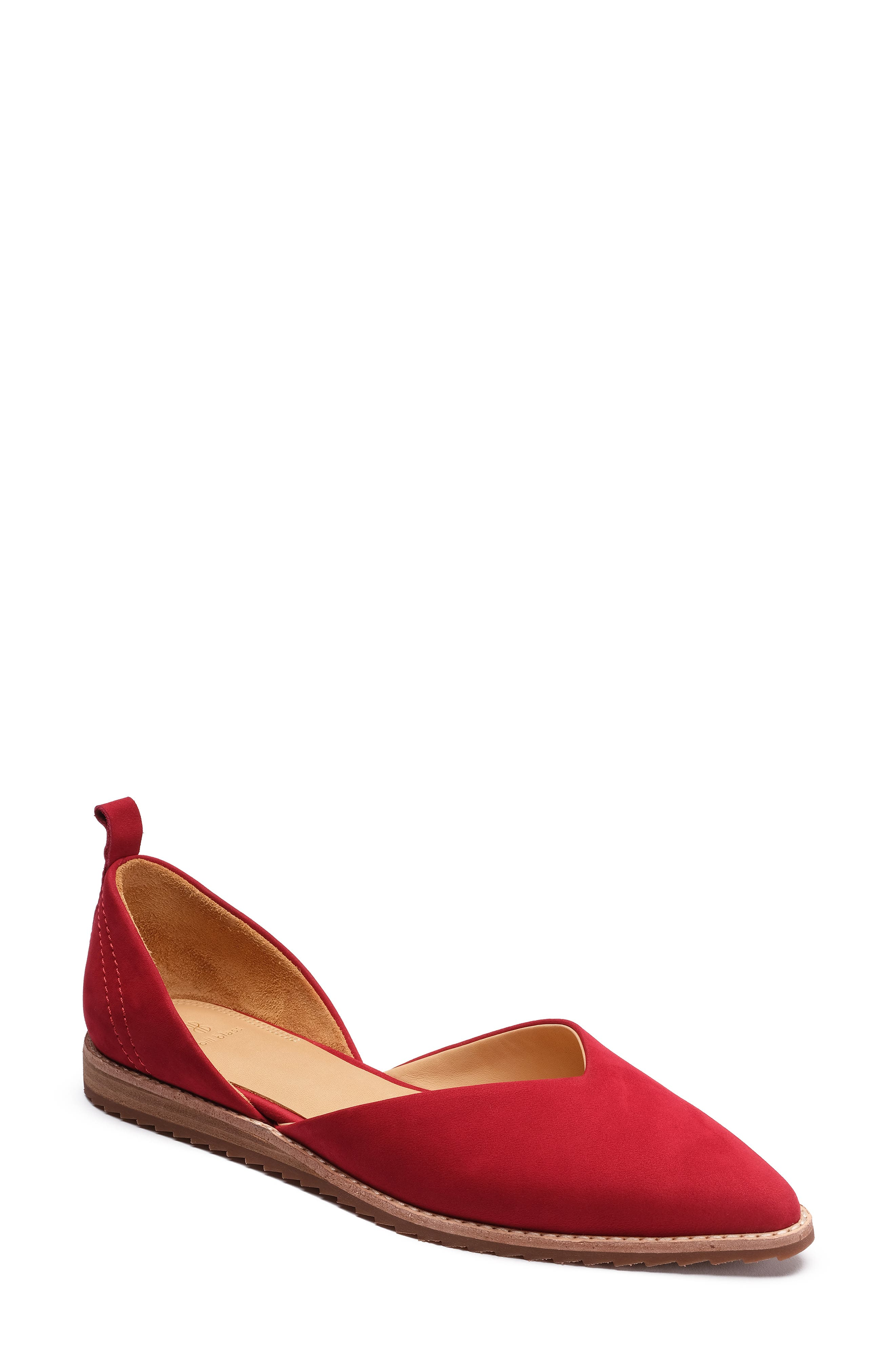 Bill Blass Sybil Pointy Toe Flat, Red
