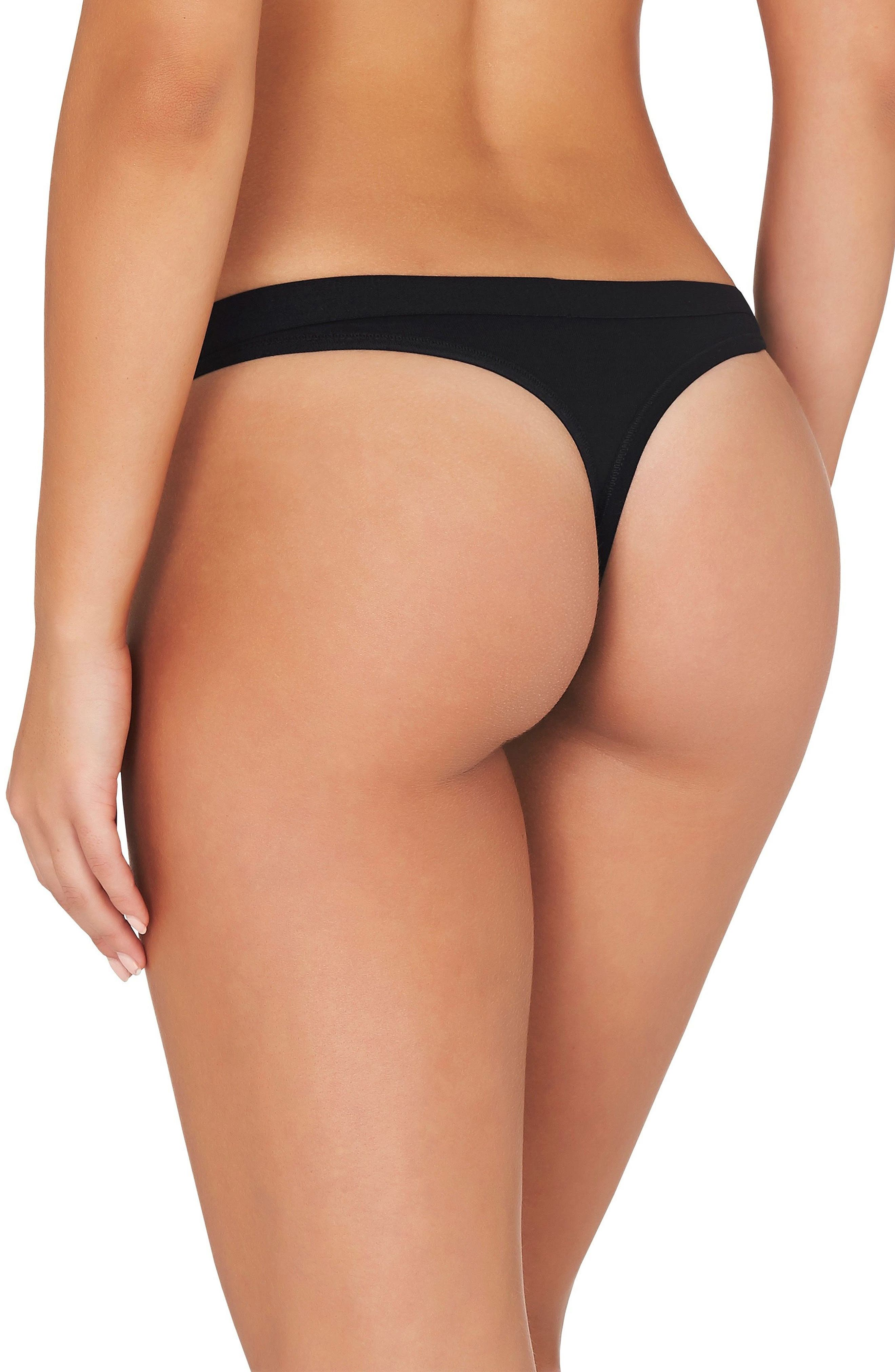 3-Pack Stretch Organic Cotton G-Strings,                             Alternate thumbnail 3, color,                             001