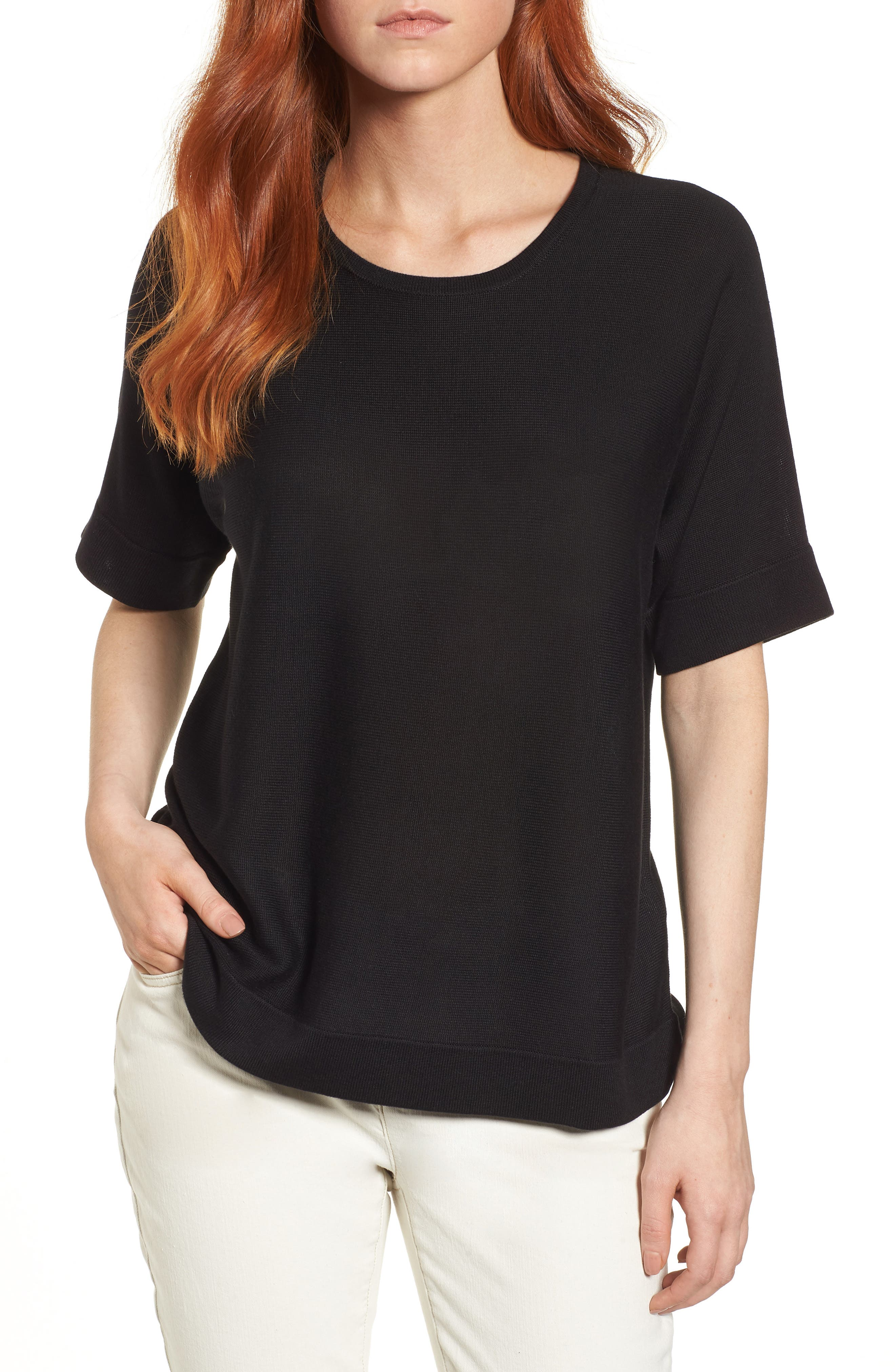 Round Neck Top,                         Main,                         color, 001