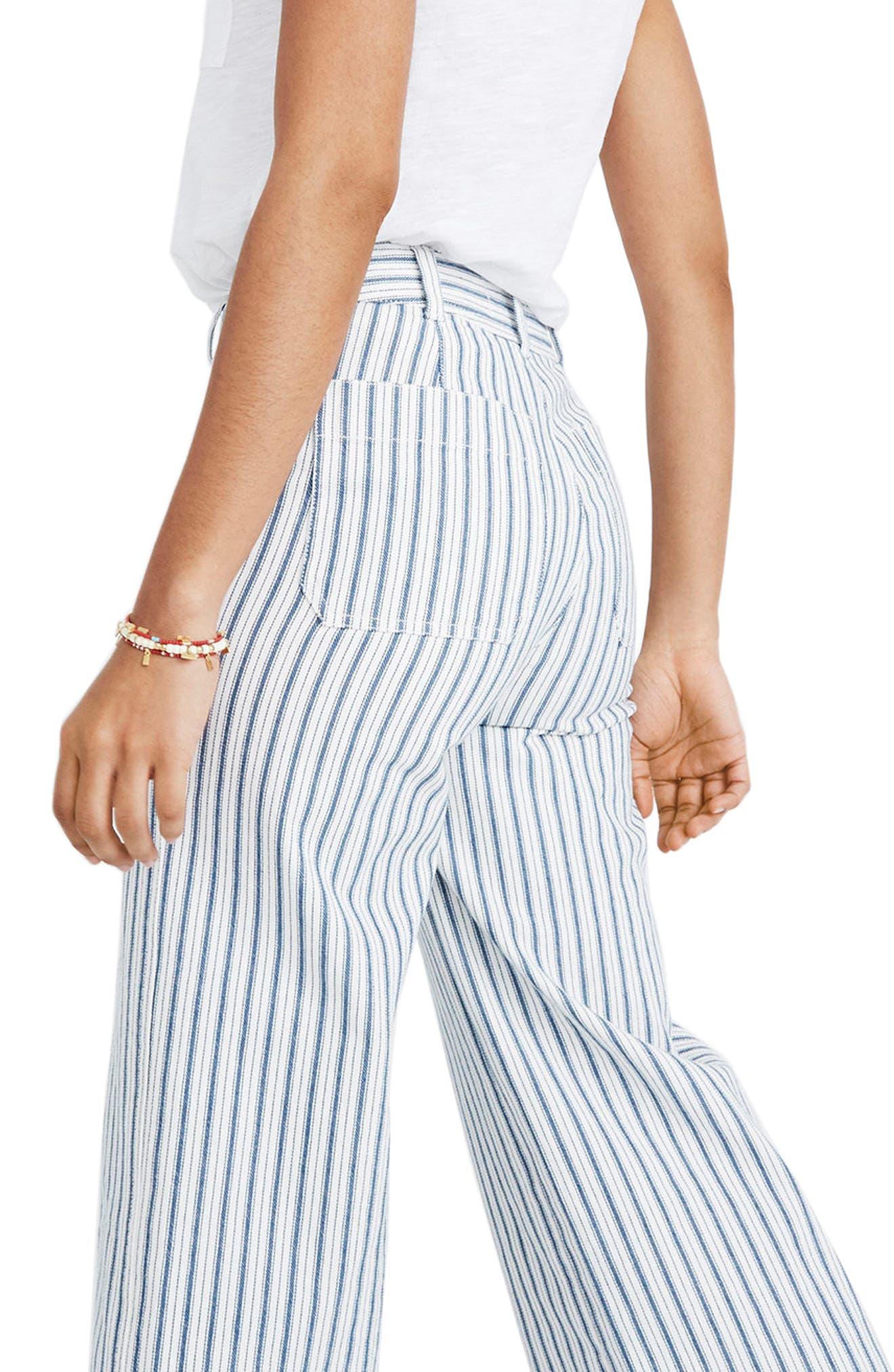 Emmett Stripe Crop Wide Leg Pants,                             Alternate thumbnail 2, color,                             400