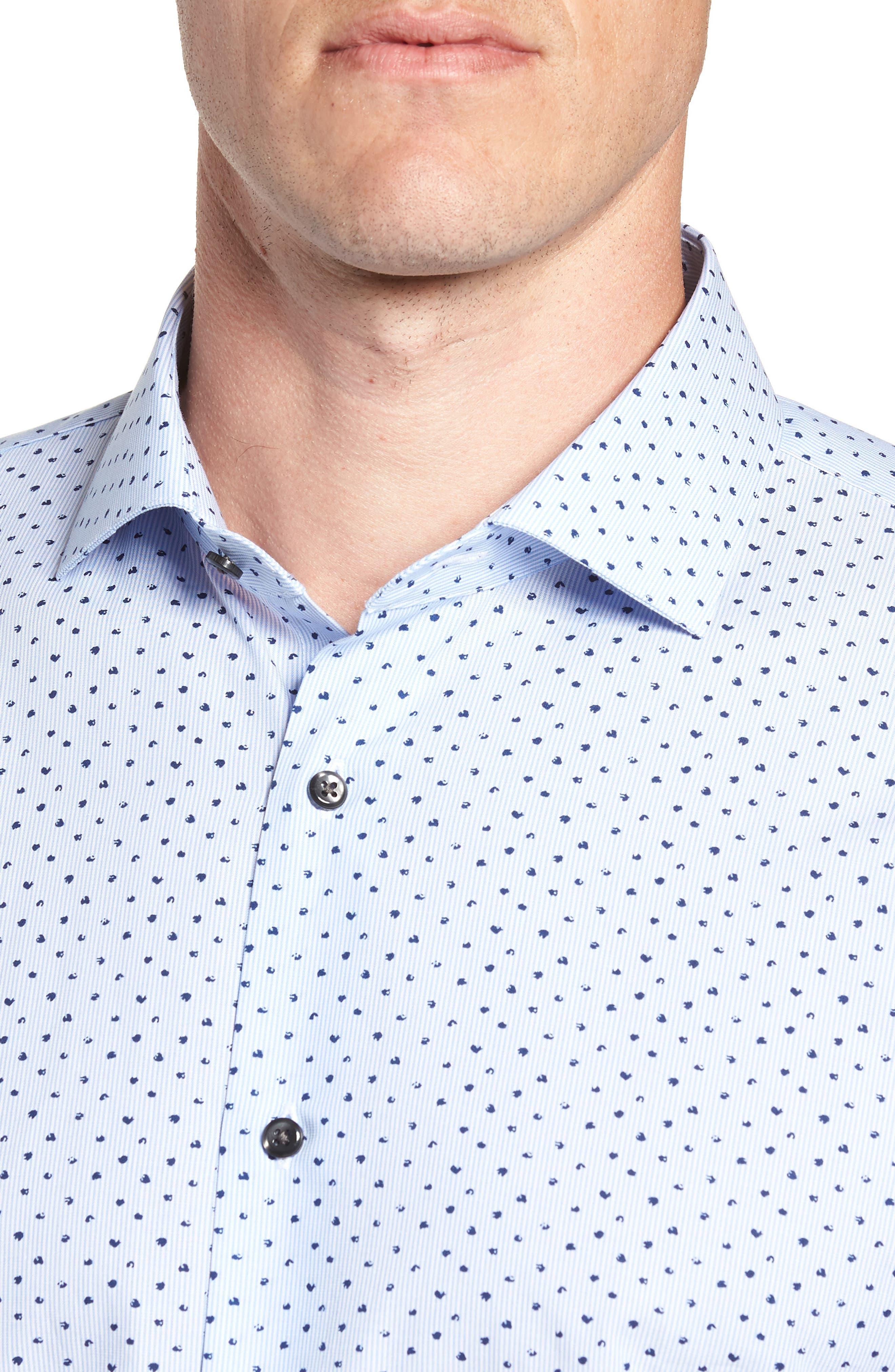 Trim Fit Stripe Dot Dress Shirt,                             Alternate thumbnail 2, color,                             BLUE CORNFLOWER