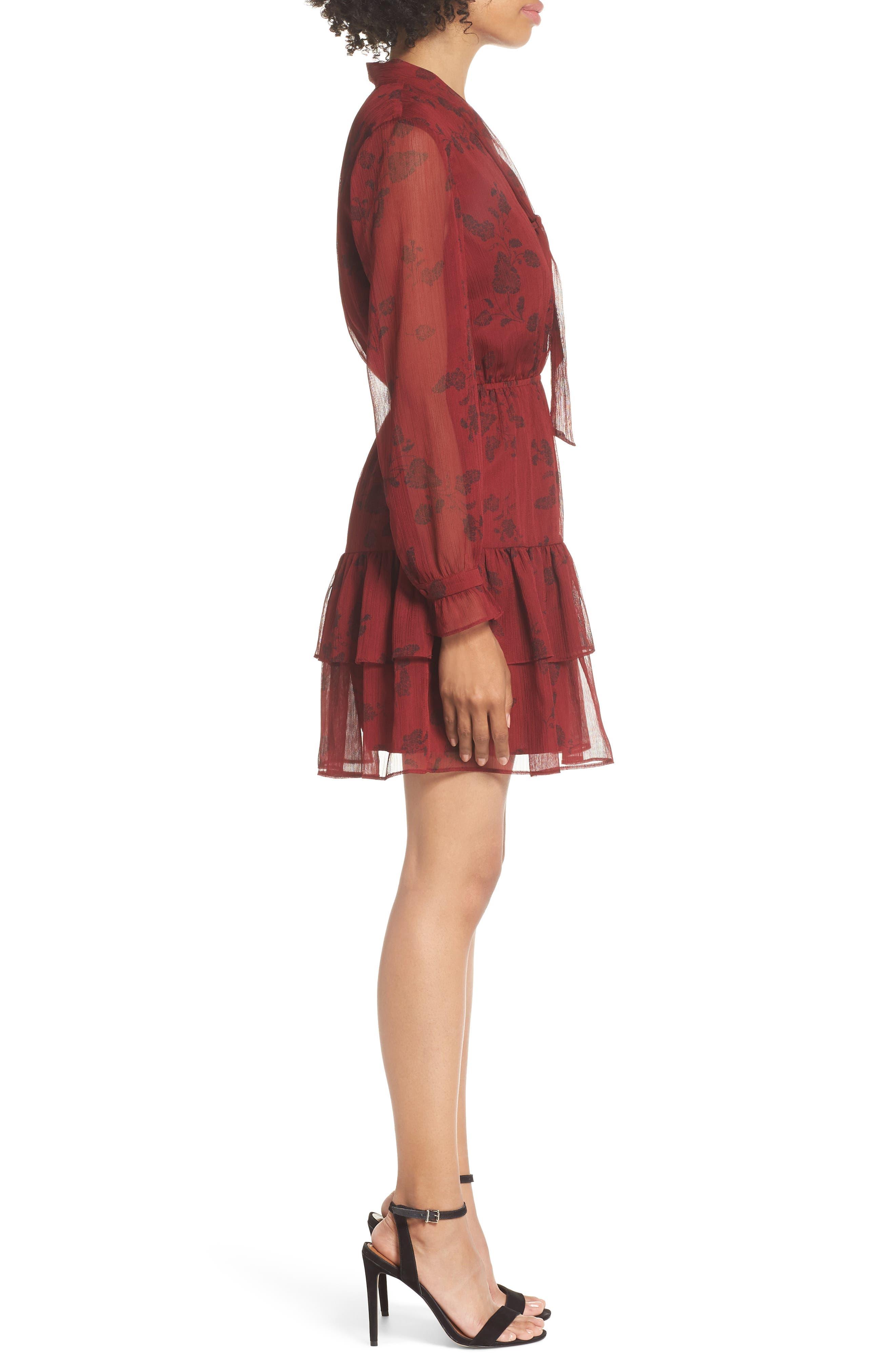 BB DAKOTA,                             Wine Down Print Chiffon Dress,                             Alternate thumbnail 3, color,                             SUNDRIED TOMATO