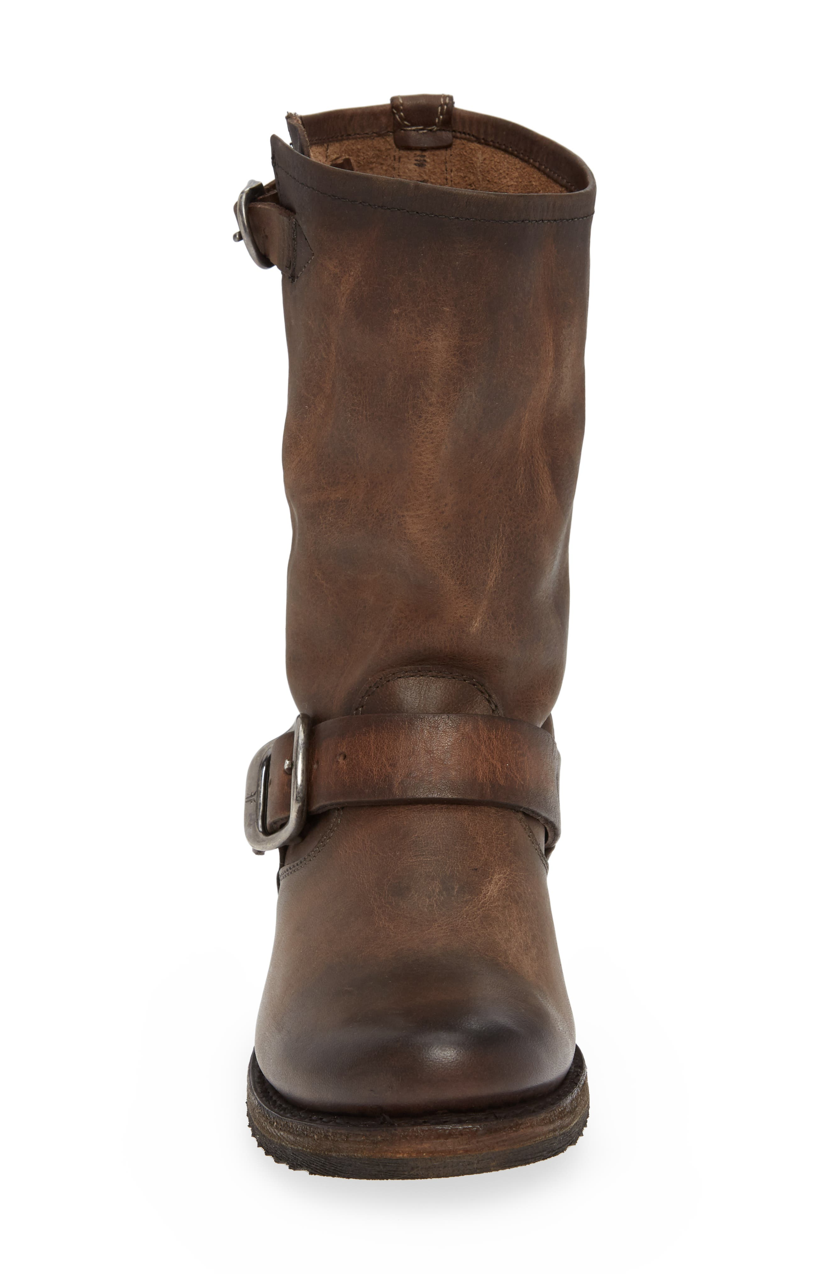 'Veronica' Short Boot,                             Alternate thumbnail 4, color,                             BROWN LEATHER