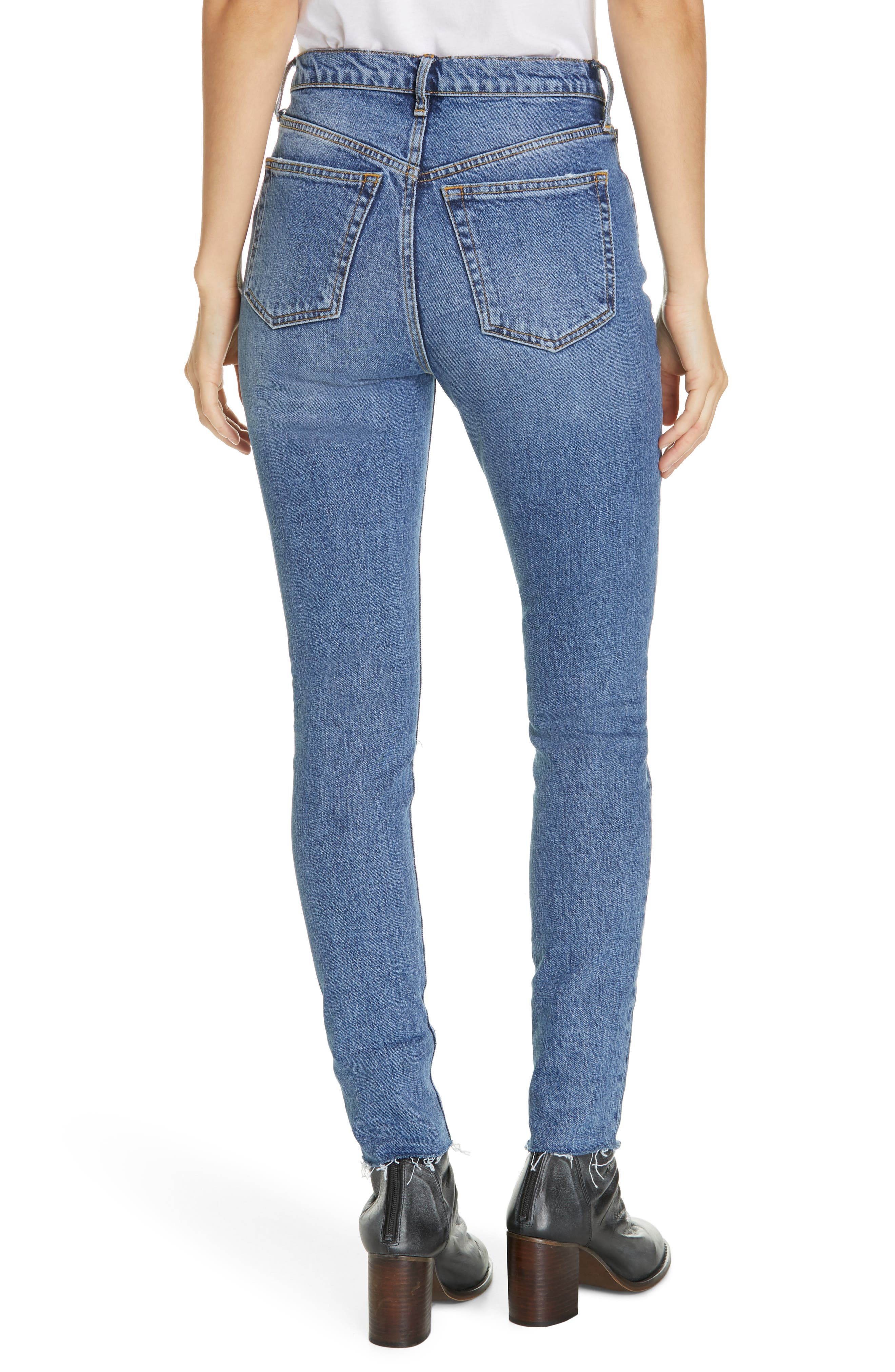 We the Free by Free People Stella High Waist Raw Hem Skinny Jeans,                             Alternate thumbnail 2, color,                             DARK BLUE