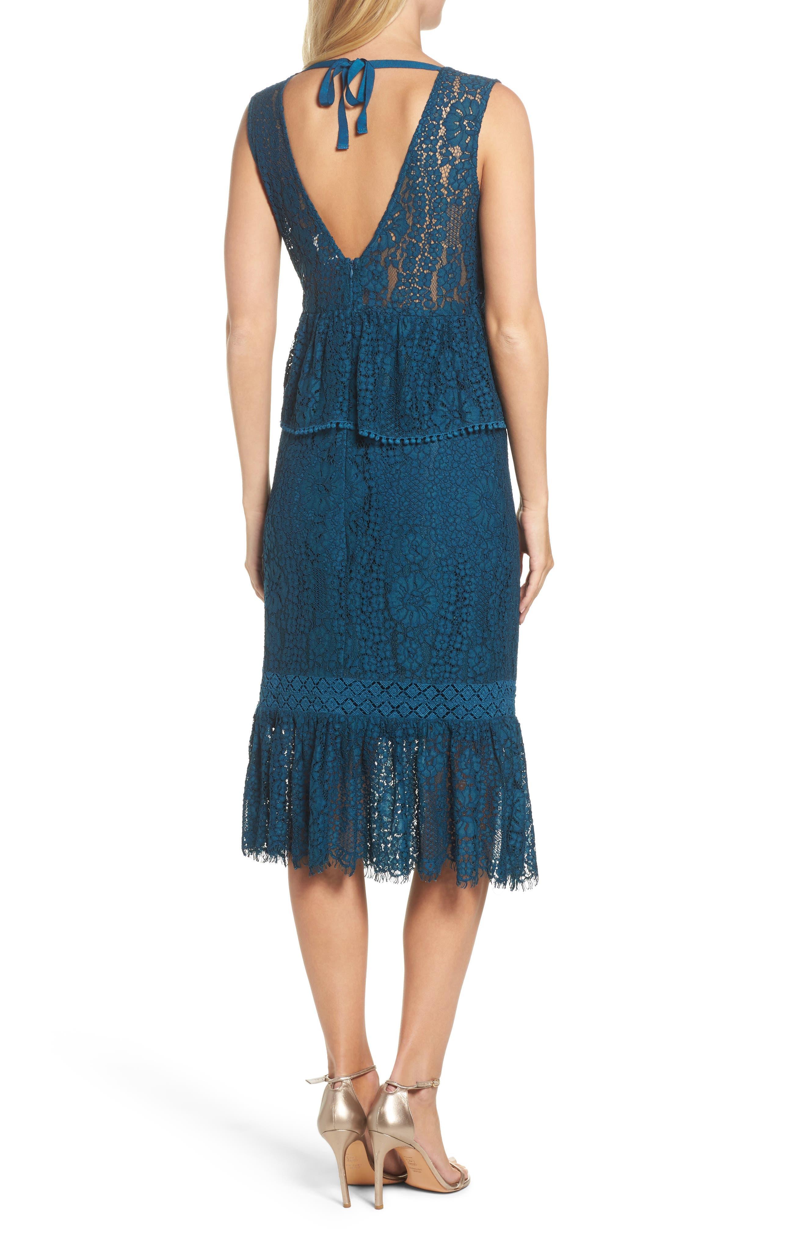 Emilia Lace Peplum Midi Dress,                             Alternate thumbnail 2, color,                             404