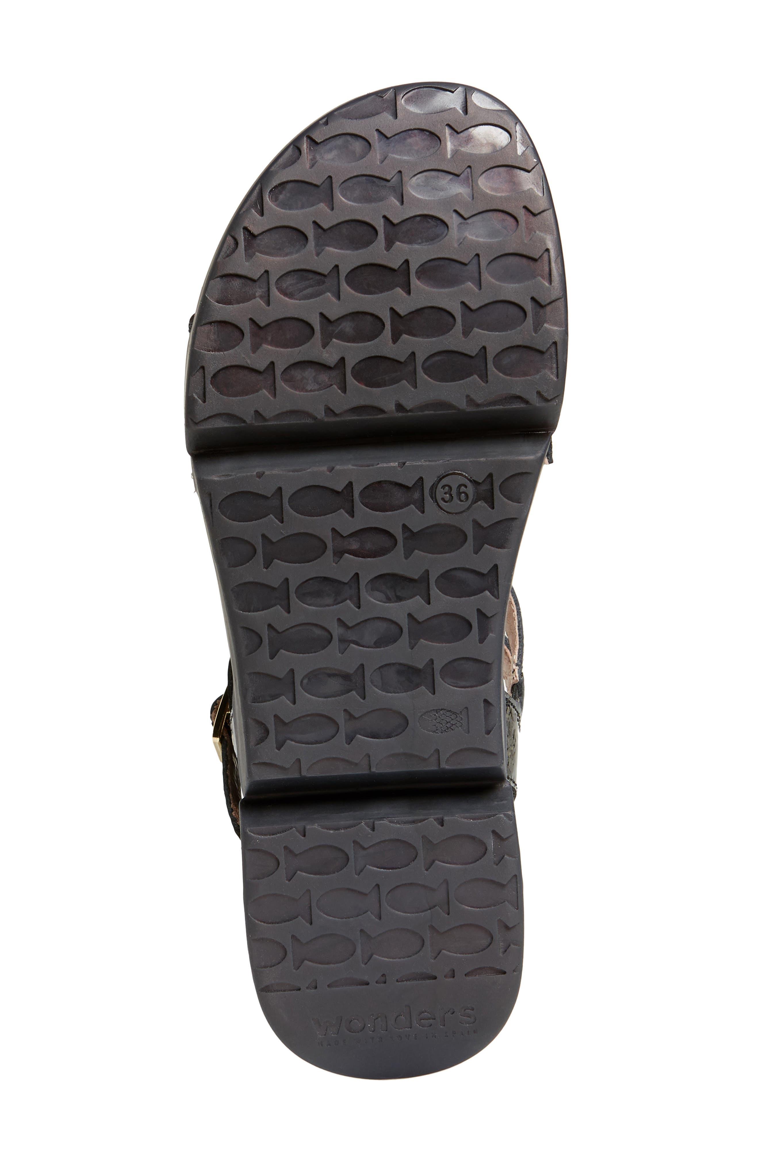 Wedge Sandal,                             Alternate thumbnail 6, color,                             BLACK PATENT LEATHER