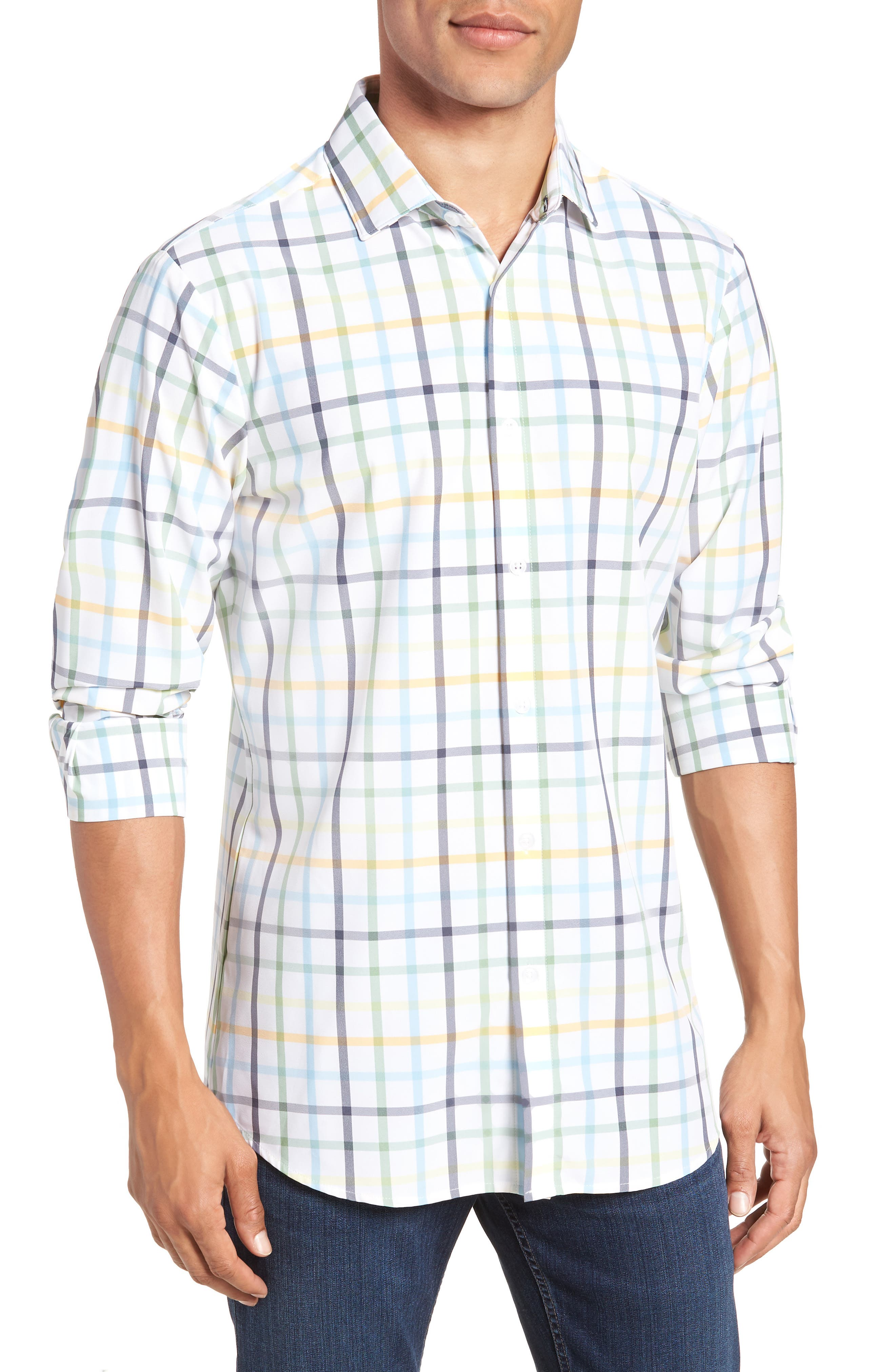 Carson Check Performance Sport Shirt,                             Main thumbnail 1, color,                             BLUE