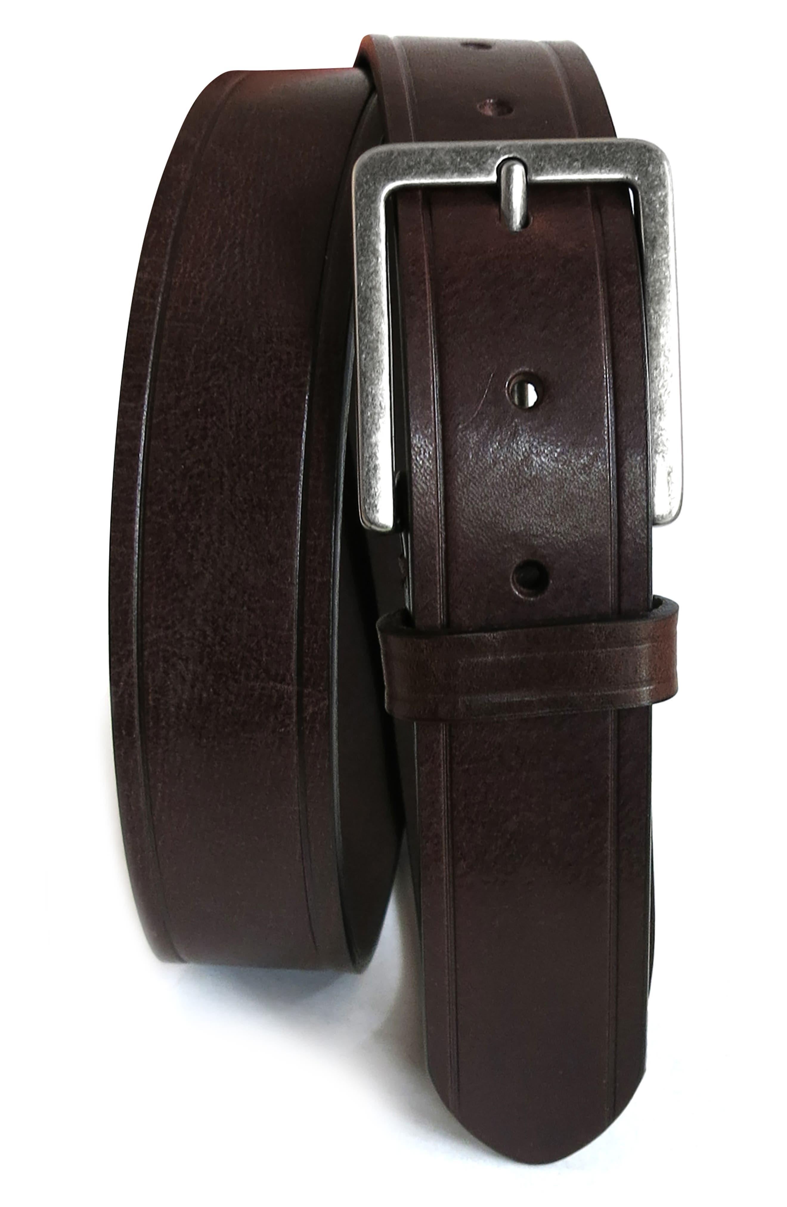 Boconi Embossed Leather Belt, Brown