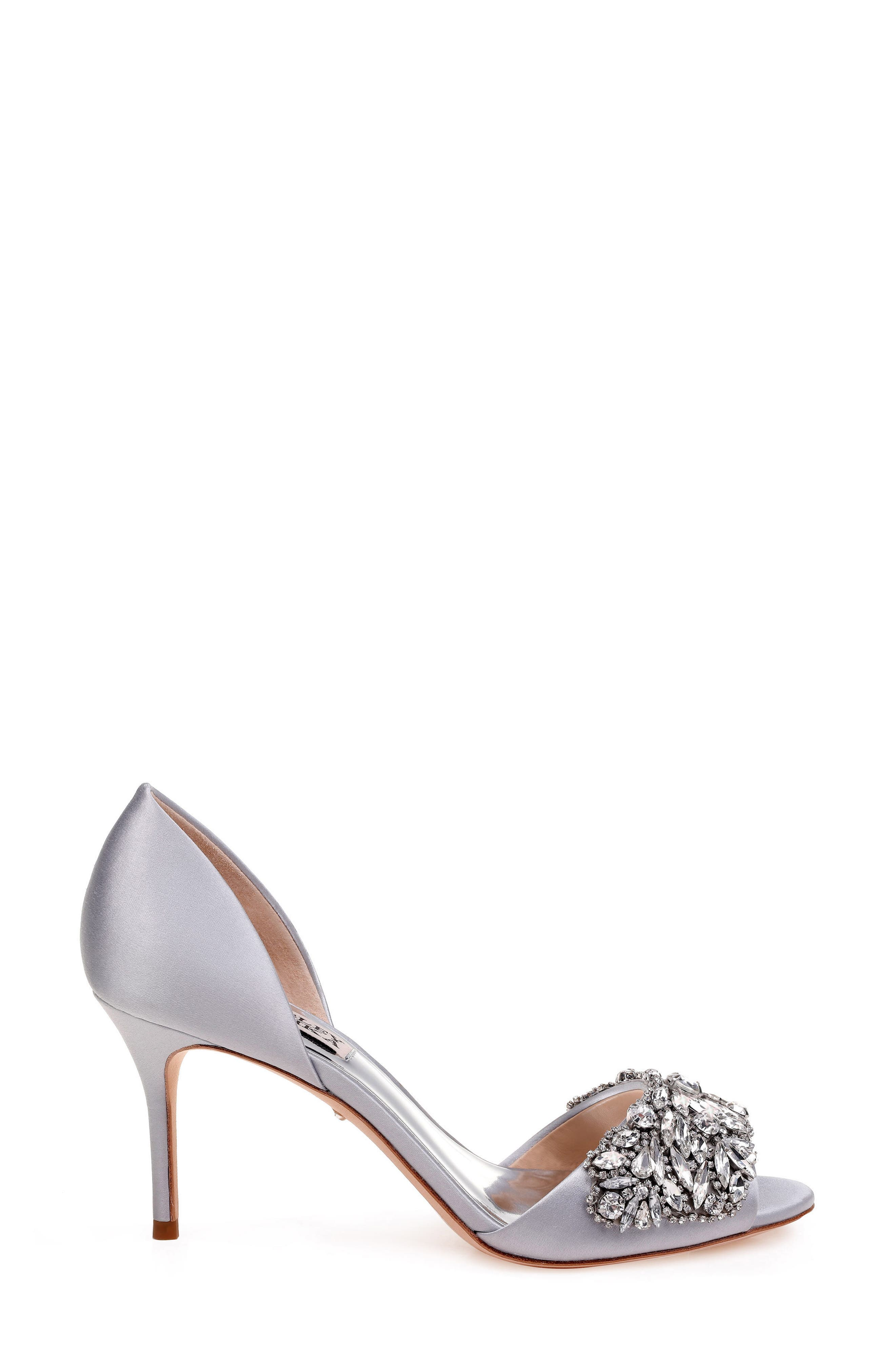 Hansen Crystal Embellished Sandal,                             Alternate thumbnail 3, color,                             SILVER SATIN