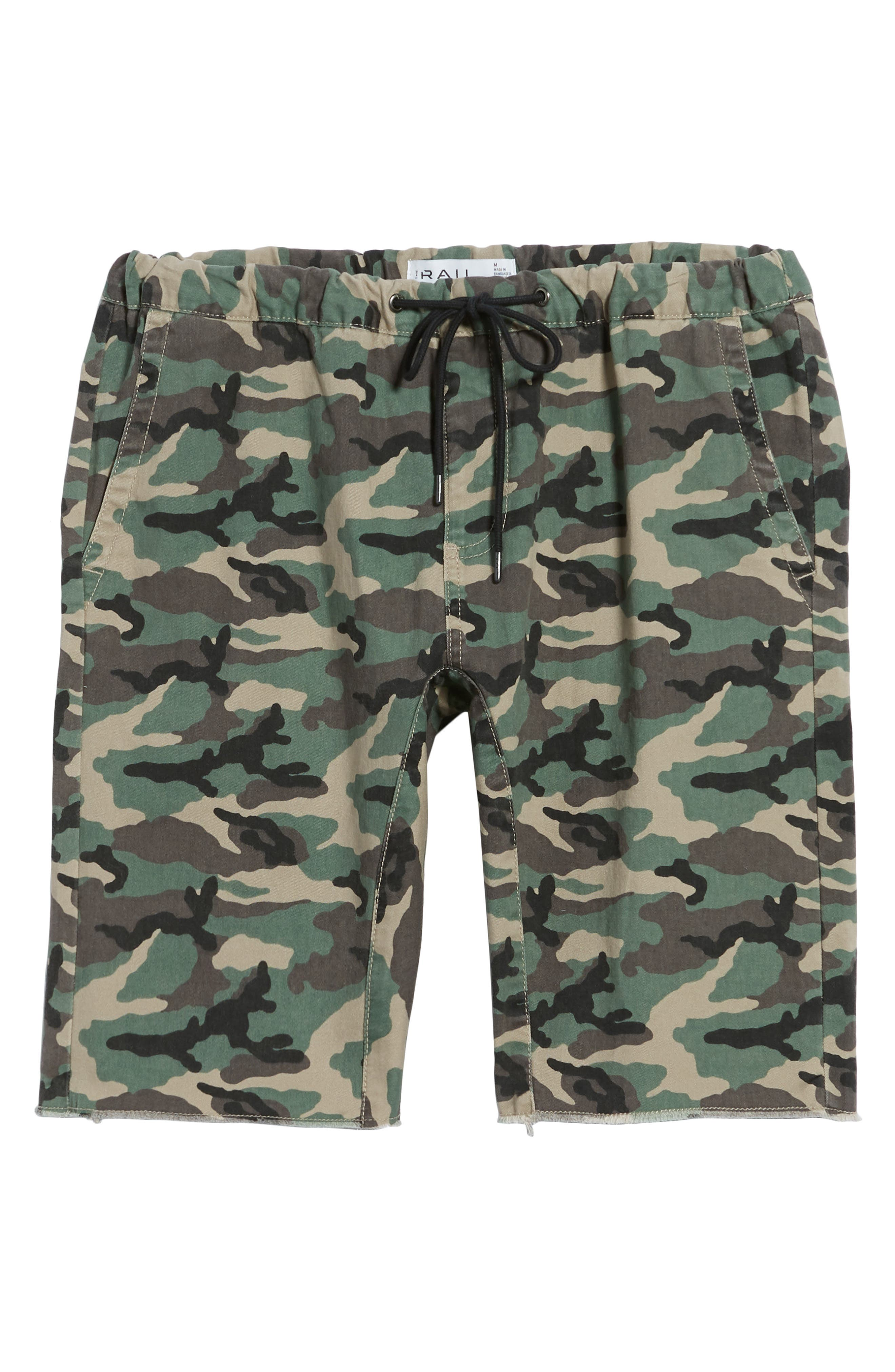 Camo Print Cutoff Twill Shorts,                             Alternate thumbnail 6, color,                             210