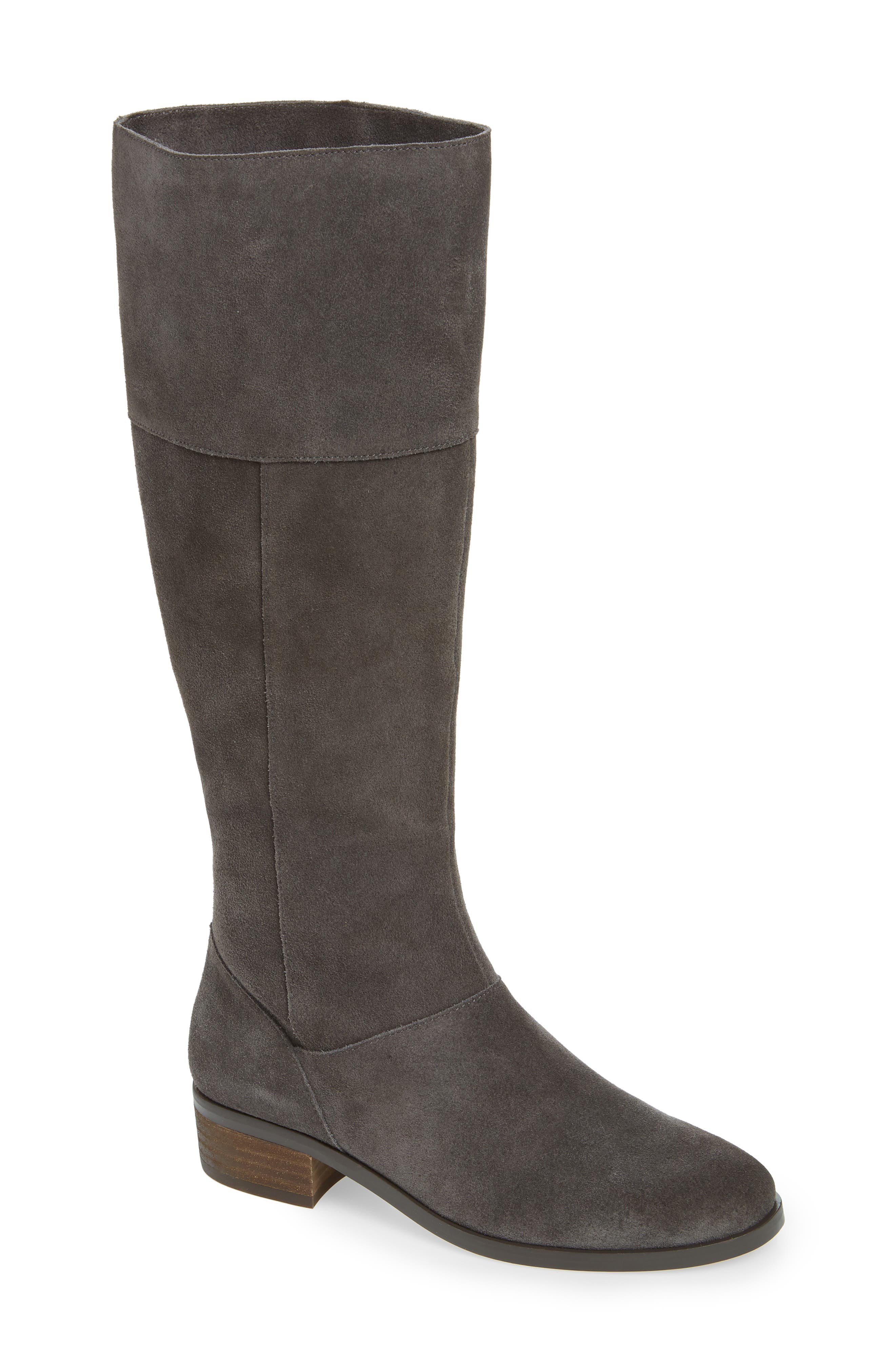 Carlie Knee High Boot,                         Main,                         color, IRON SUEDE