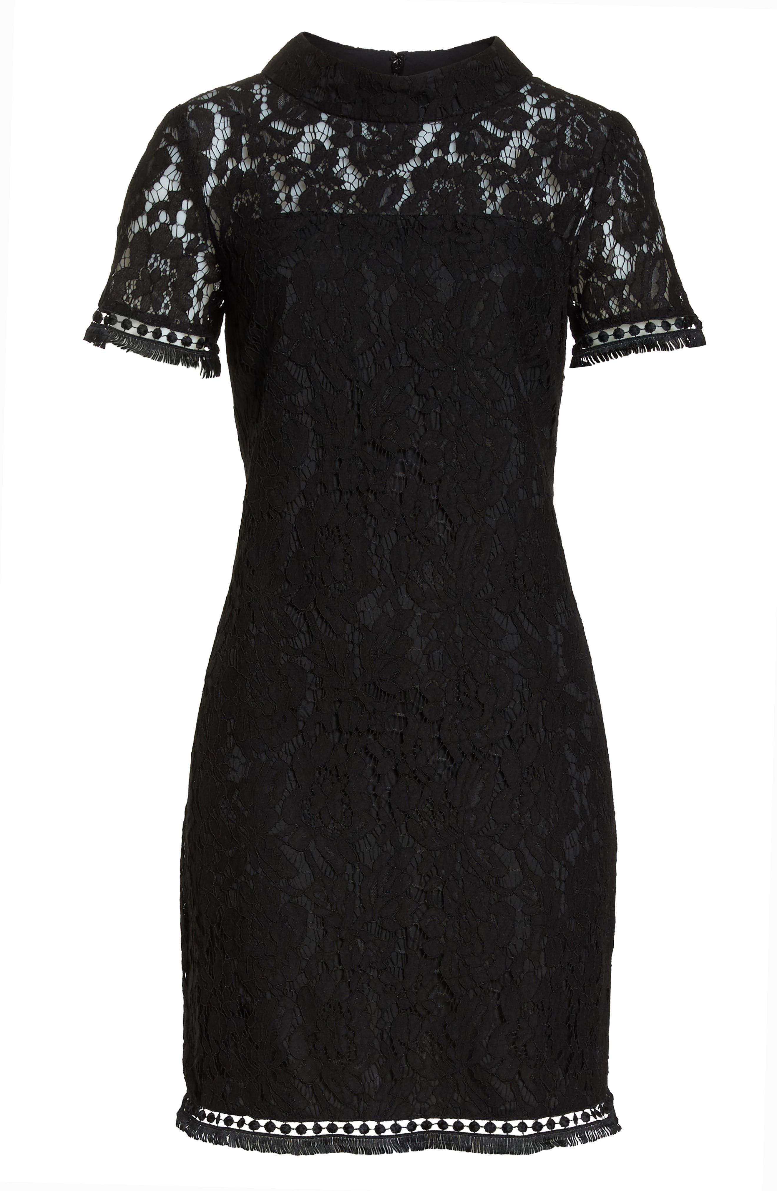 High Neck Lace Shift Dress,                             Alternate thumbnail 7, color,                             001