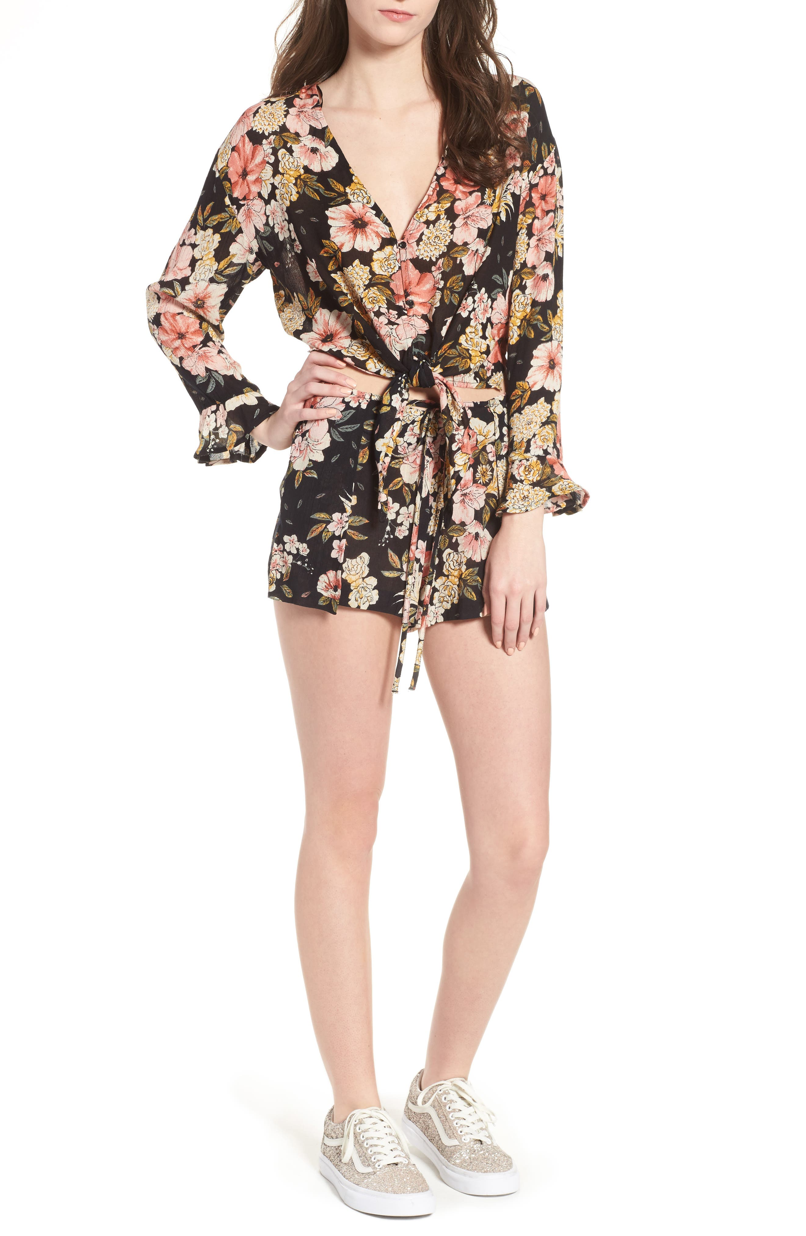 Trippy Day Floral Print Shorts,                         Main,                         color, 001