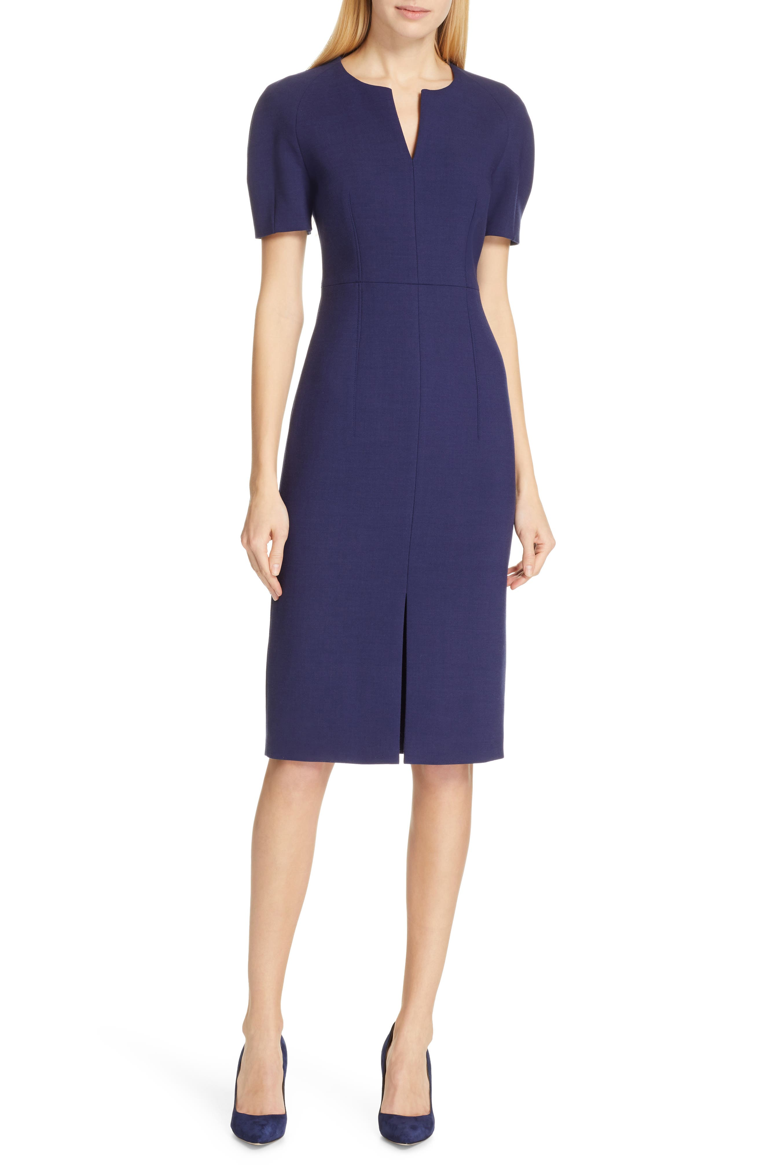 Boss Darera Short Sleeve Ponte Sheath Dress, Blue